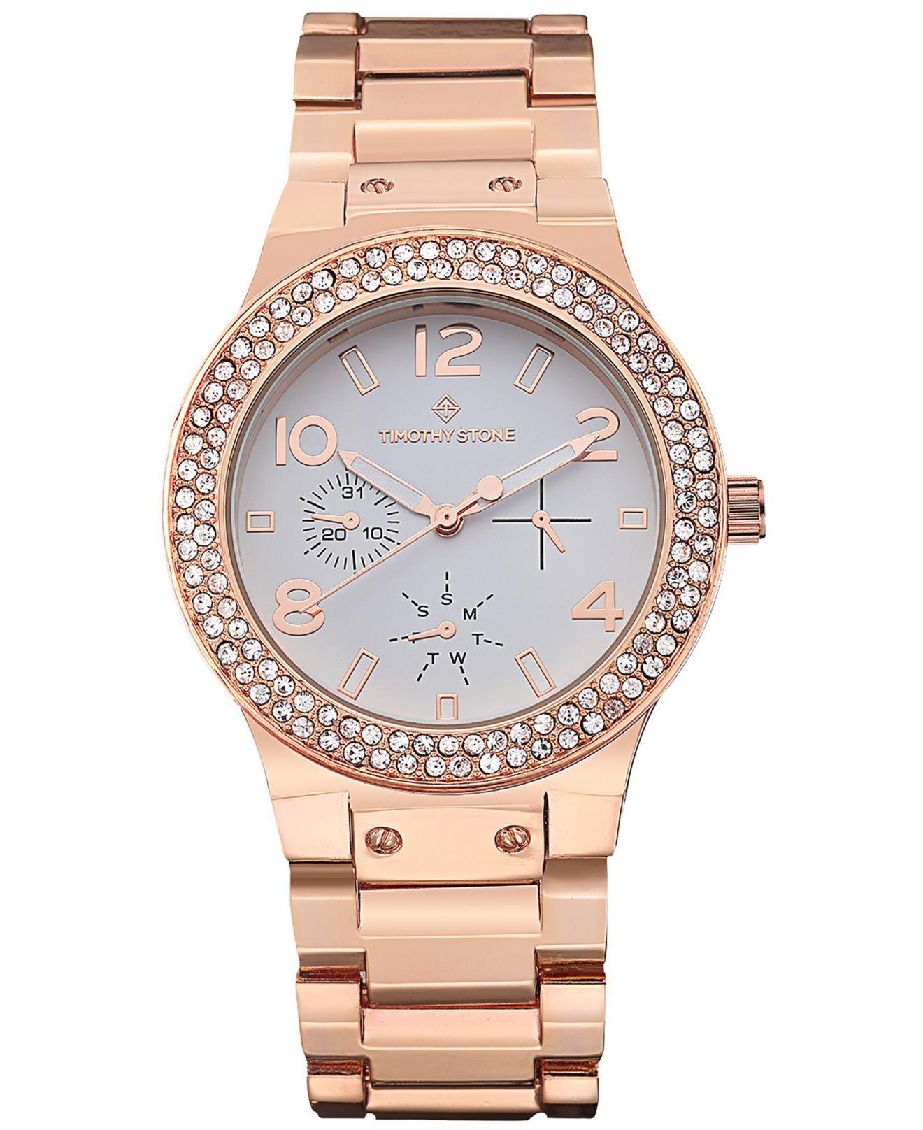 Lyst Timothy Stone Facon Crystal Bezel Boyfriend Watch In Pink Fossil Idealist Silver Es4194 View Fullscreen