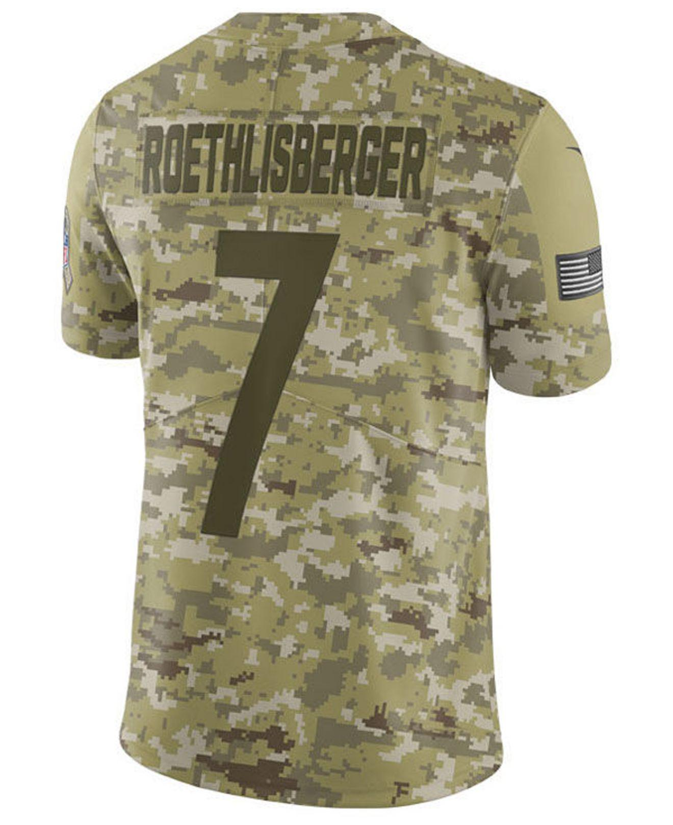 1db94523d Lyst - Nike Ben Roethlisberger Pittsburgh Steelers Salute To Service Jersey  2018 in Green for Men