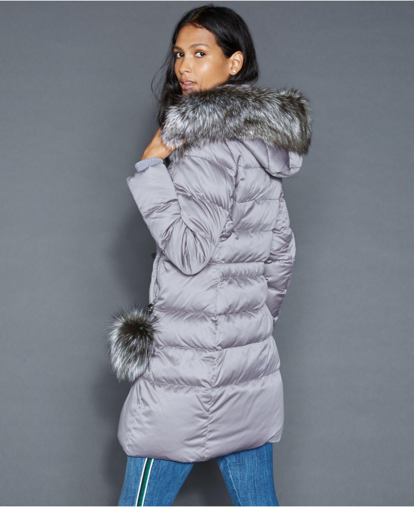 3f68968d4ee Lyst - The Fur Vault Fox-fur-trim Puffer Coat in Gray