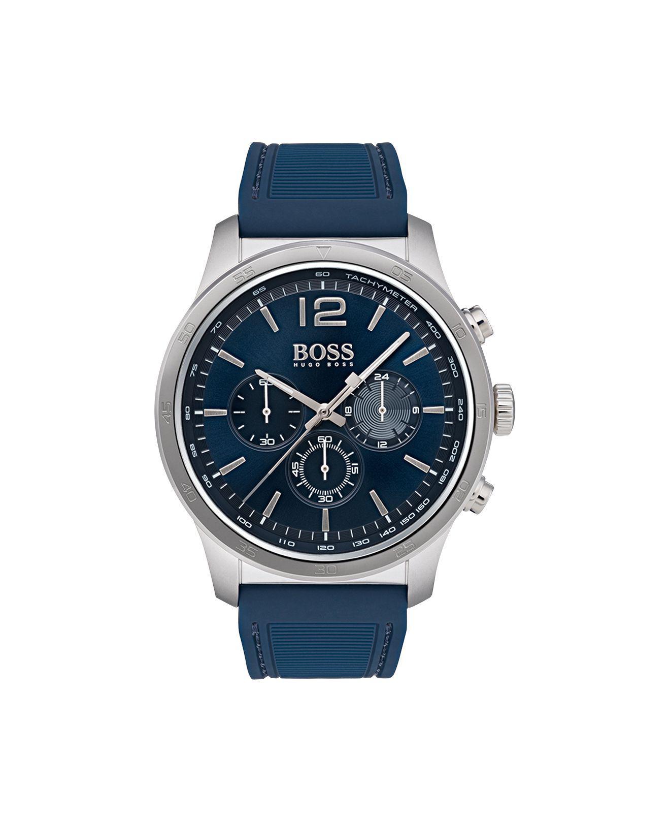 7eebb0893 BOSS - Men's Chronograph Professional Blue Rubber Strap Watch 42mm for Men  - Lyst