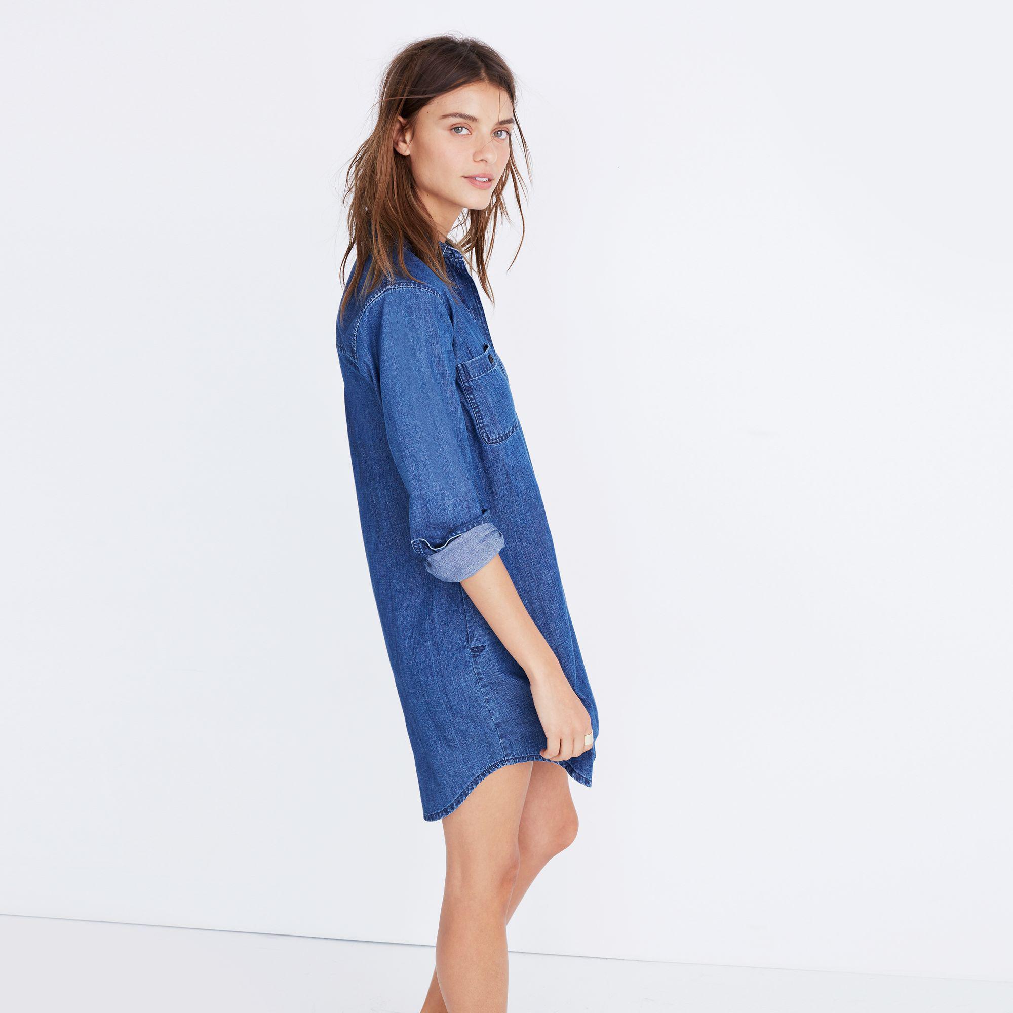 c2b62966770 Lyst - Madewell Denim Popover Shirtdress in Blue