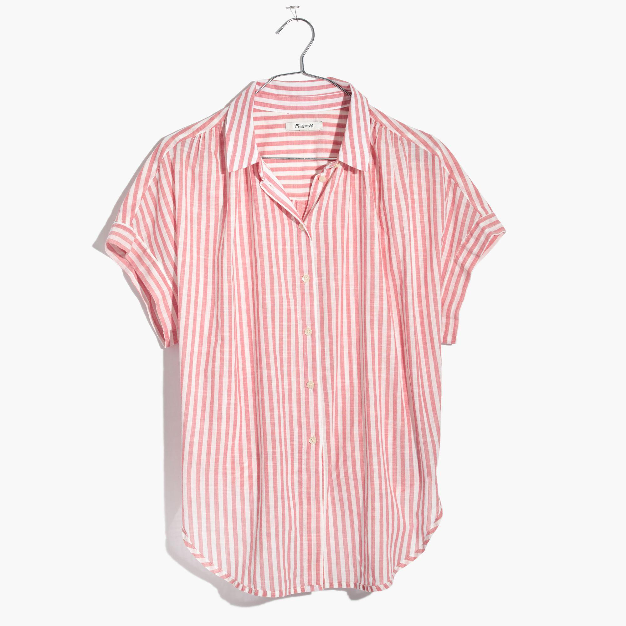 e3532727033 Madewell Central Tie-back Shirt In Rose Stripe - Lyst