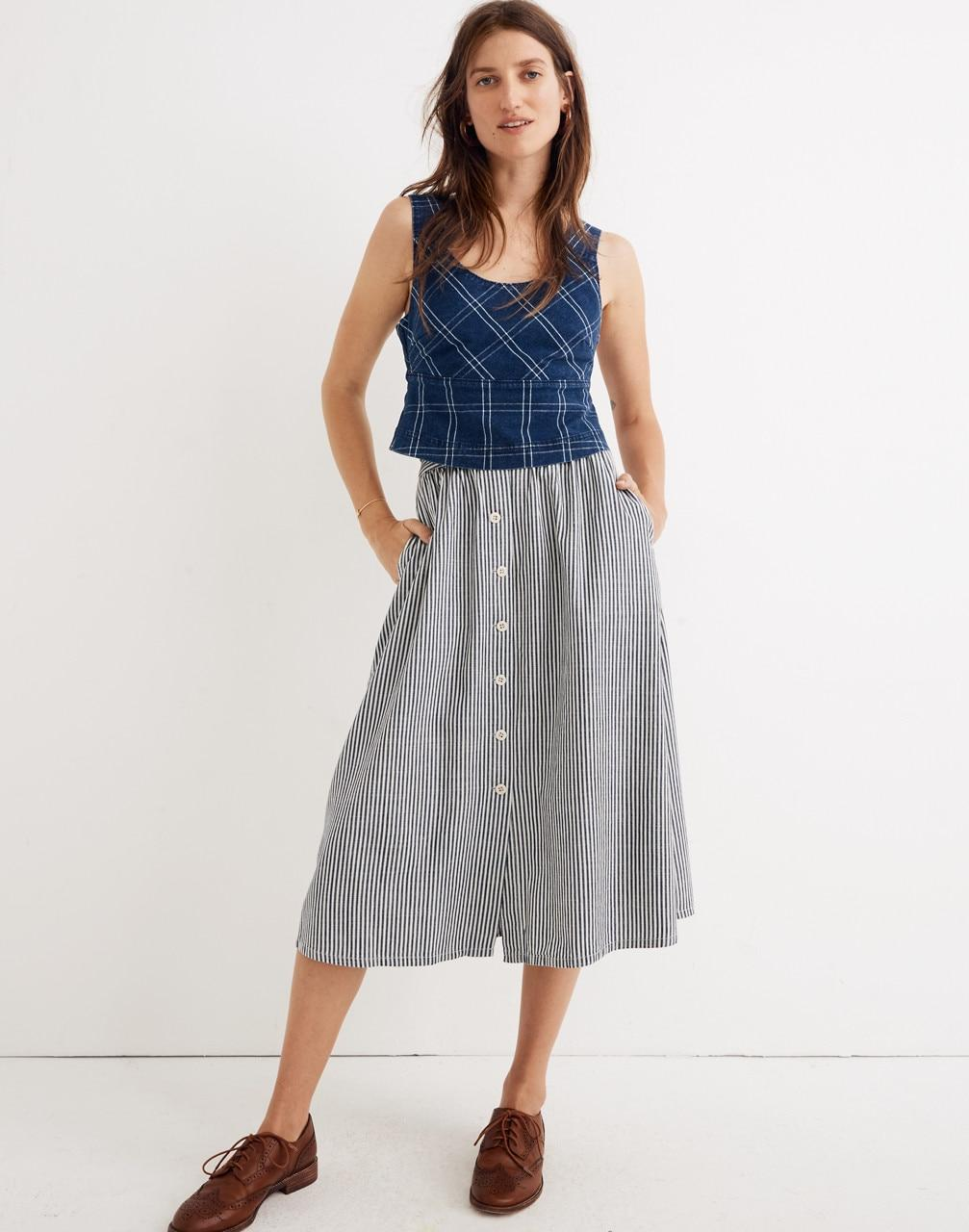 851aaf941a Lyst - Madewell Palisade Button-front Midi Skirt In Chambray Stripe ...