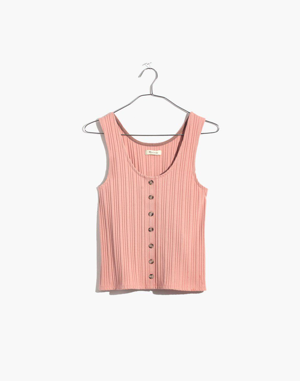 58685496fa6ff6 Lyst - Madewell Ribbed Button-front Tank Top in Pink