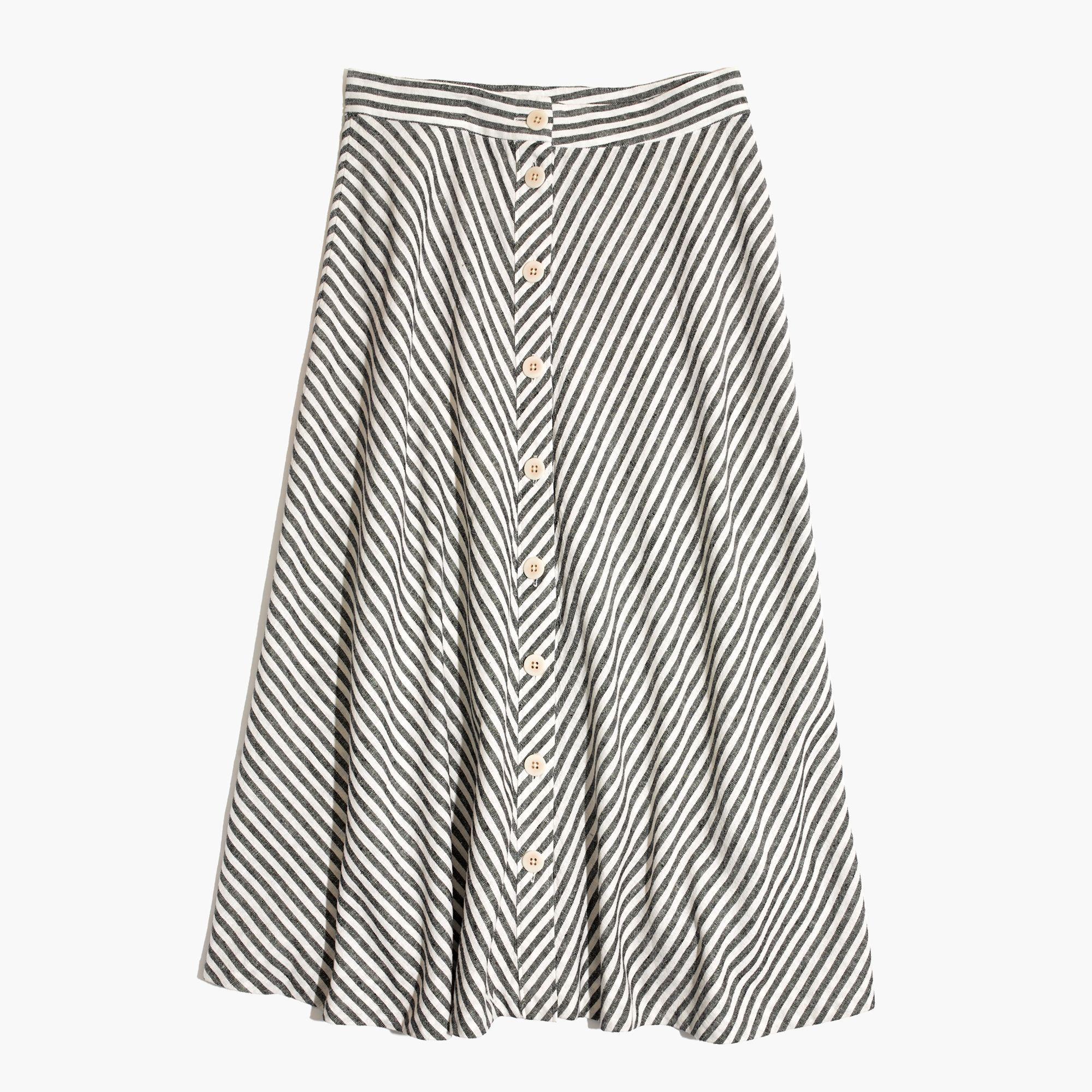 3222a4915360 Madewell Side-button Midi Skirt In Rhoda Stripe - Lyst