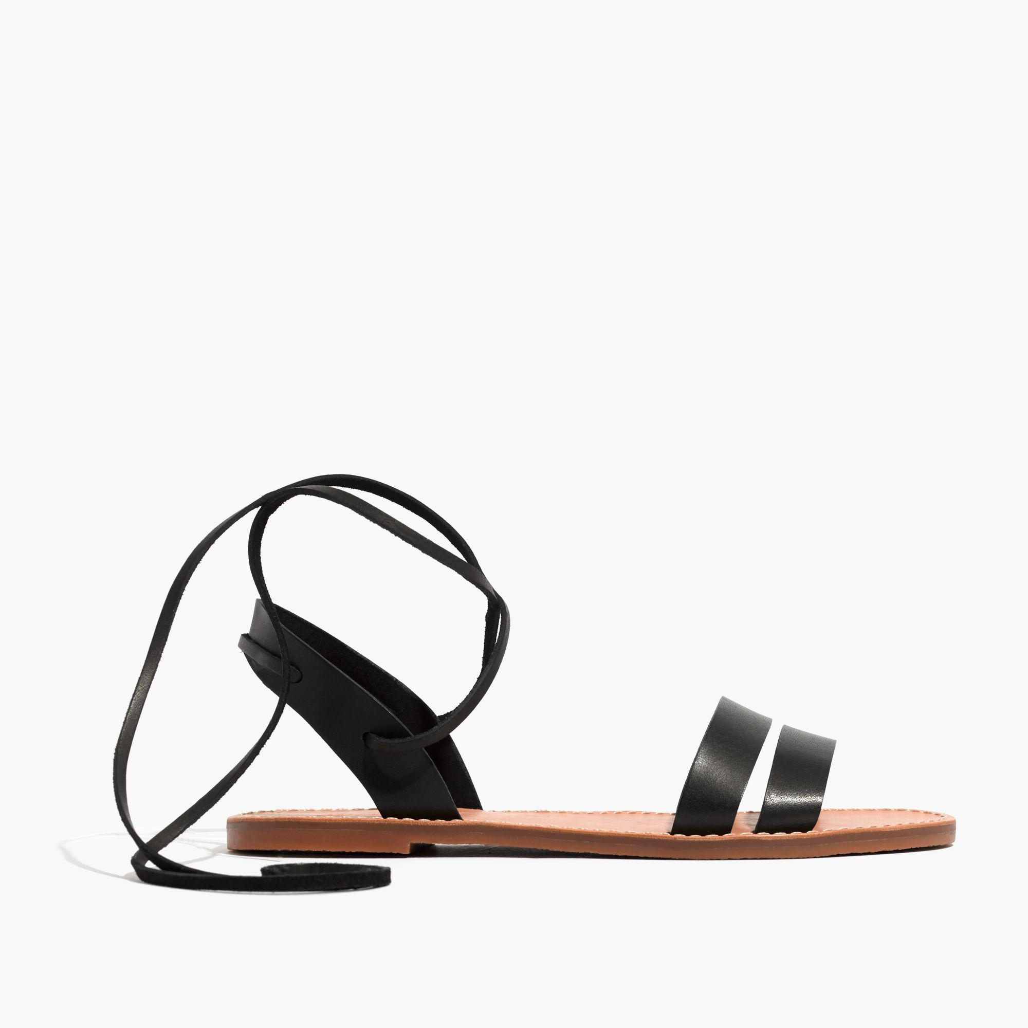 e64fea55235517 Lyst - Madewell The Boardwalk Ankle-tie Sandal in Black