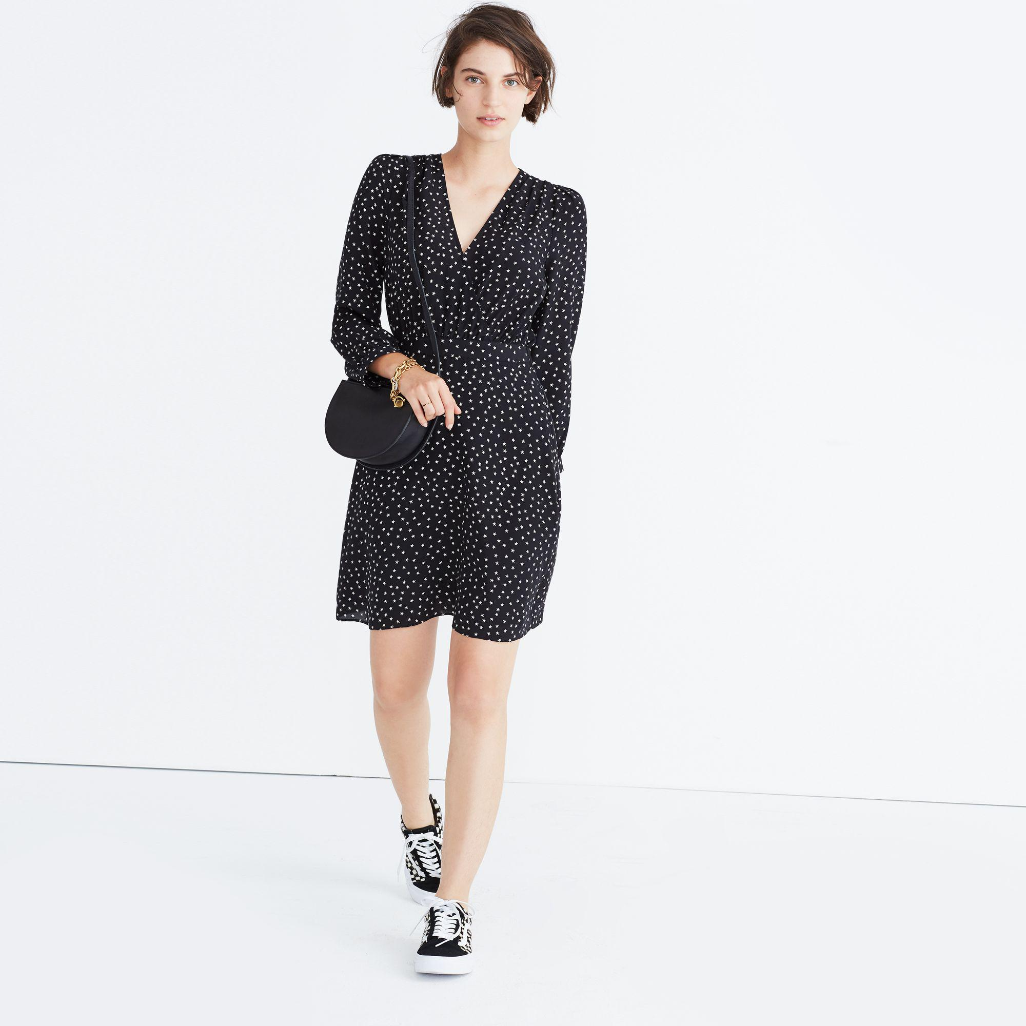 e31a02a64d9d5 Lyst - Madewell Silk Wrap-neckline Dress In Star Scatter in Black
