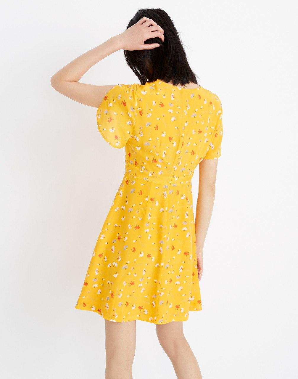 9f62efe97e Lyst - Madewell Silk Belladonna Dress In Painted Carnations in Yellow