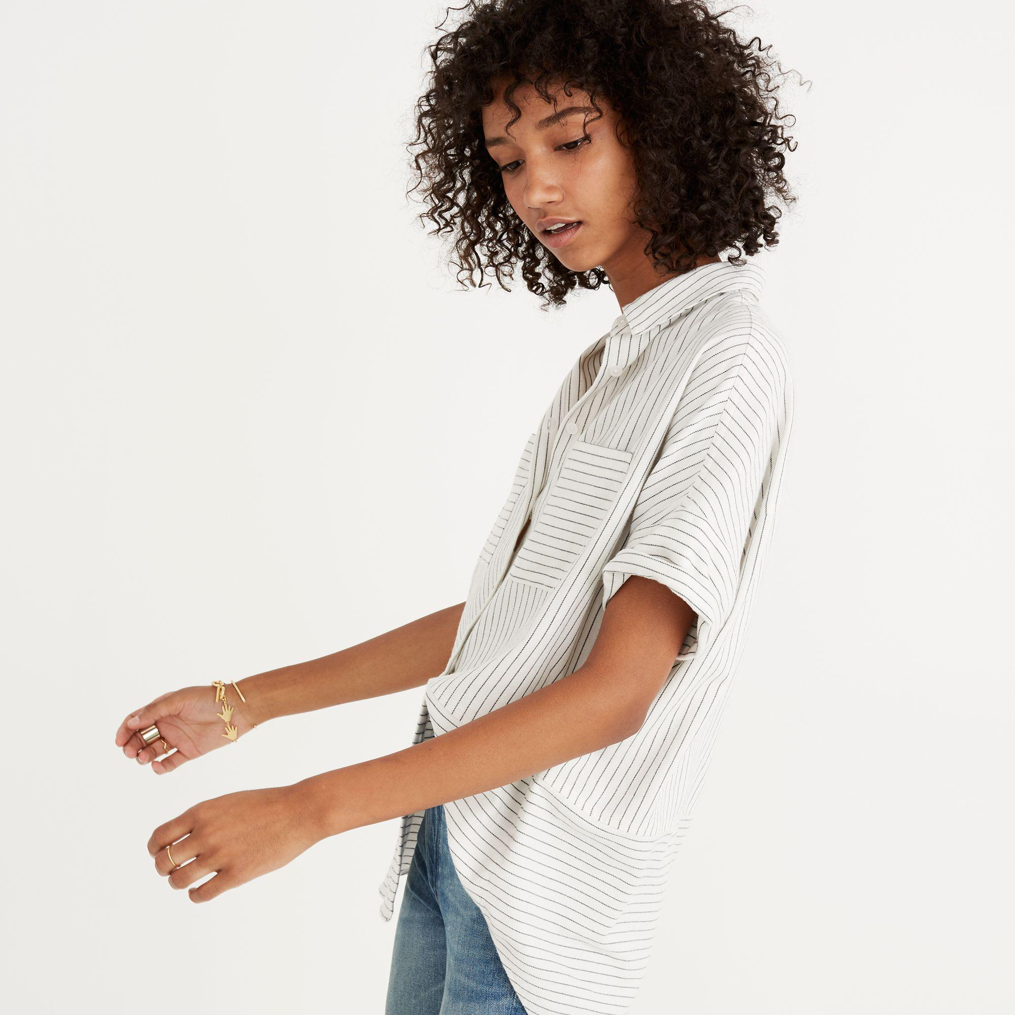 80a92068 Madewell Flannel Courier Shirt In Stripe in White - Lyst