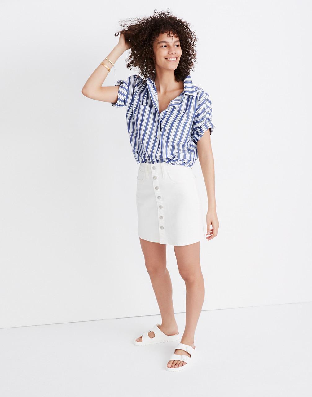 4544f11121 Lyst - Madewell Stretch Denim Straight Mini Skirt In Tile White ...