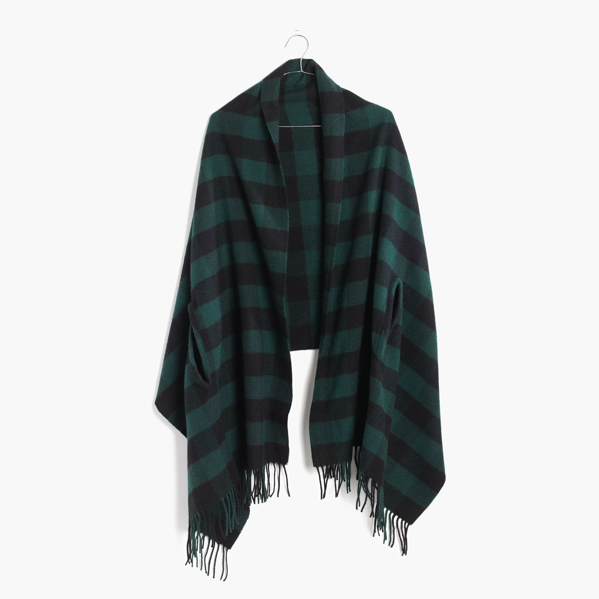 Madewell Cape Scarf In Buffalo Check in Green