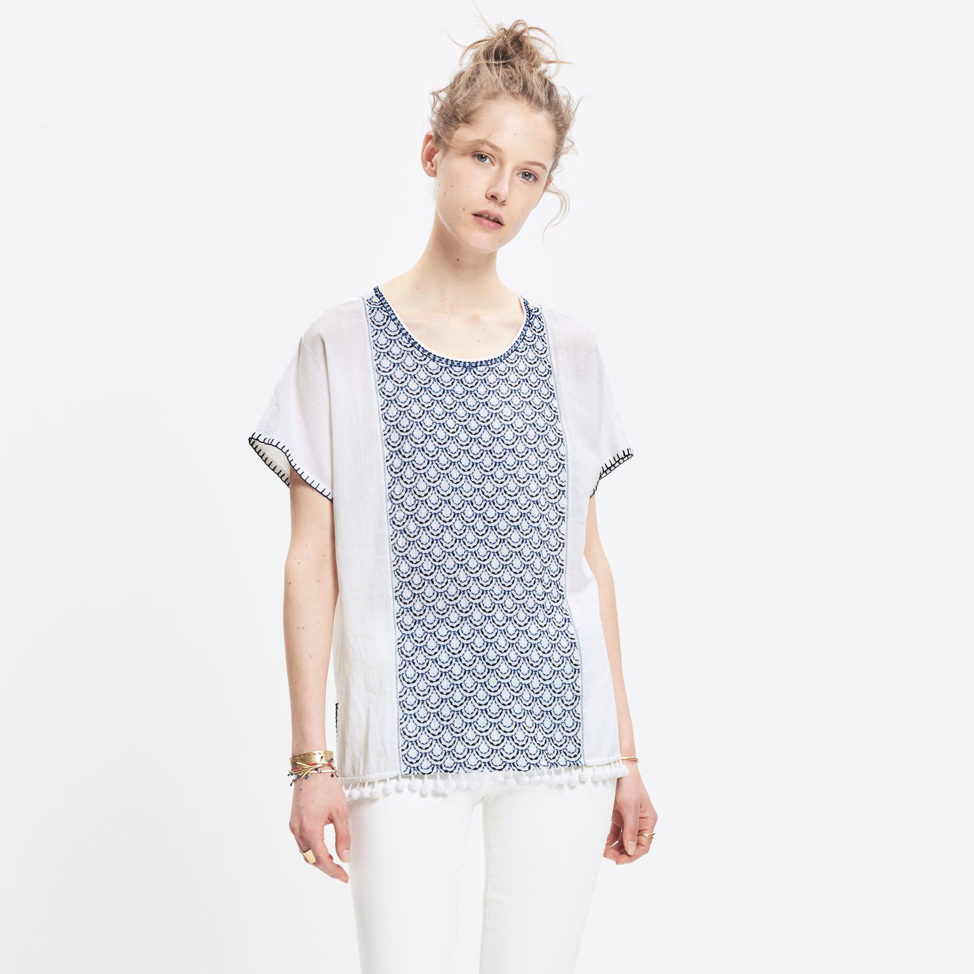 8cb511fa538 Lyst - Madewell Indigo-stitch Pom-pom Top in White