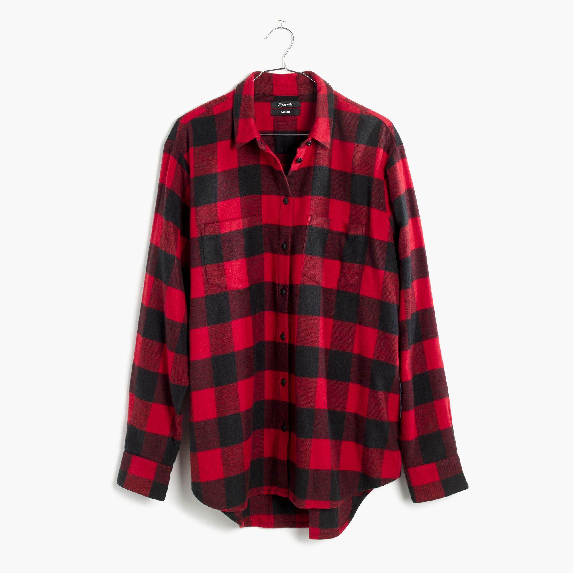 Madewell Flannel Oversized Ex Boyfriend Shirt In Buffalo