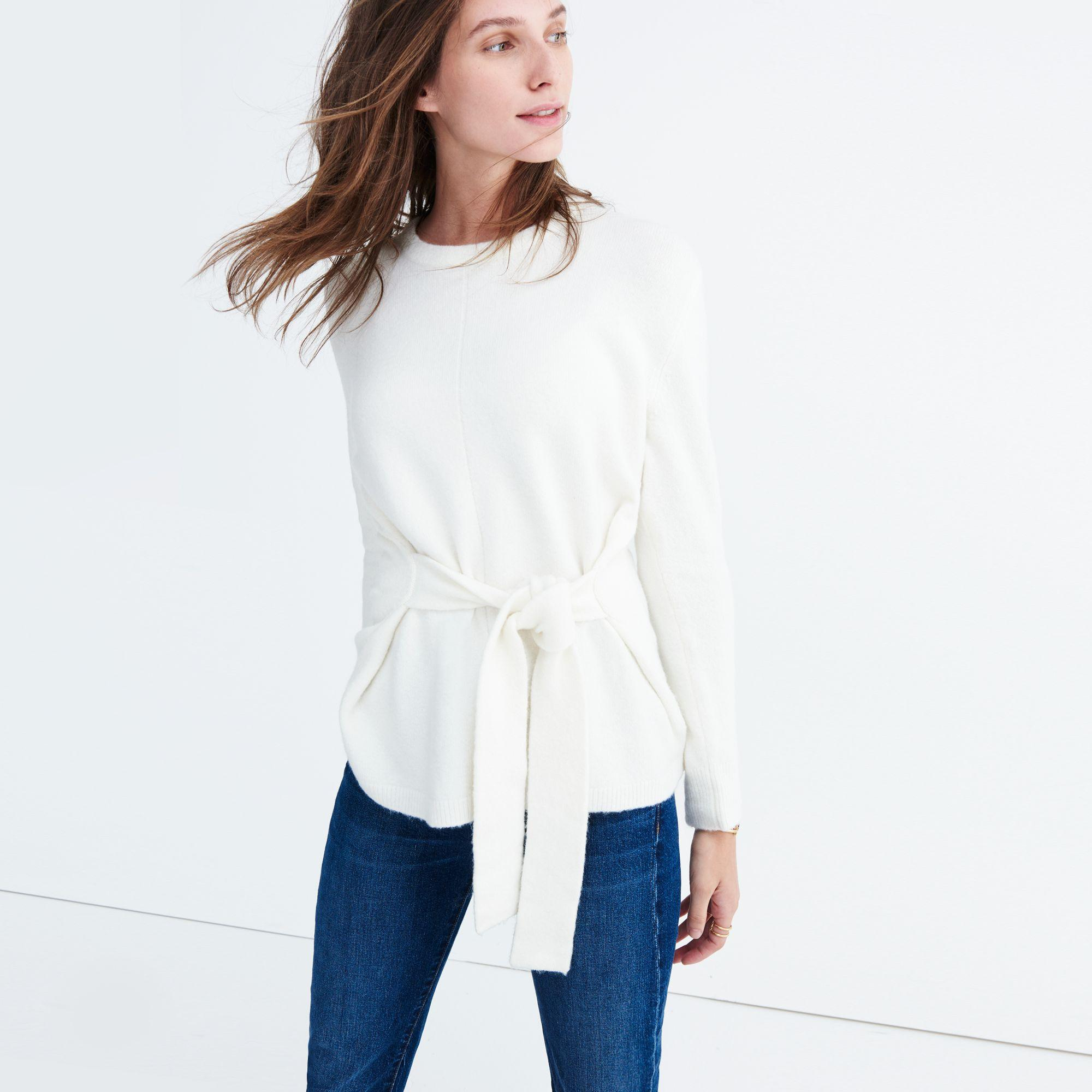 Lyst Madewell Tie Front Wrap Sweater In White