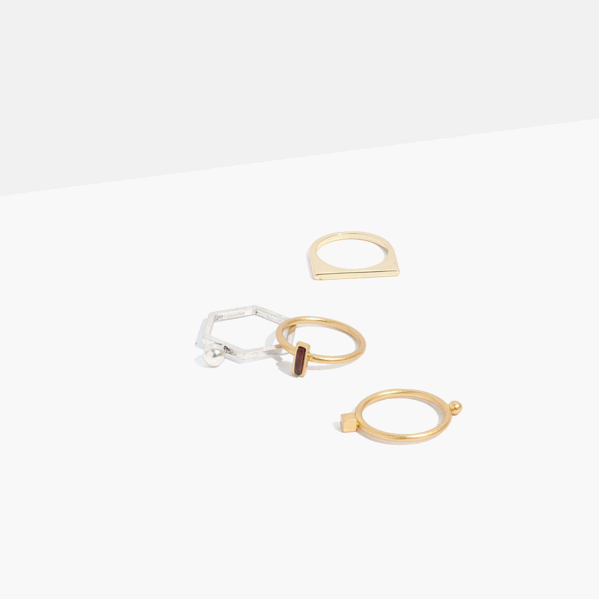 Madewell Geometric Ring Set in Metallic