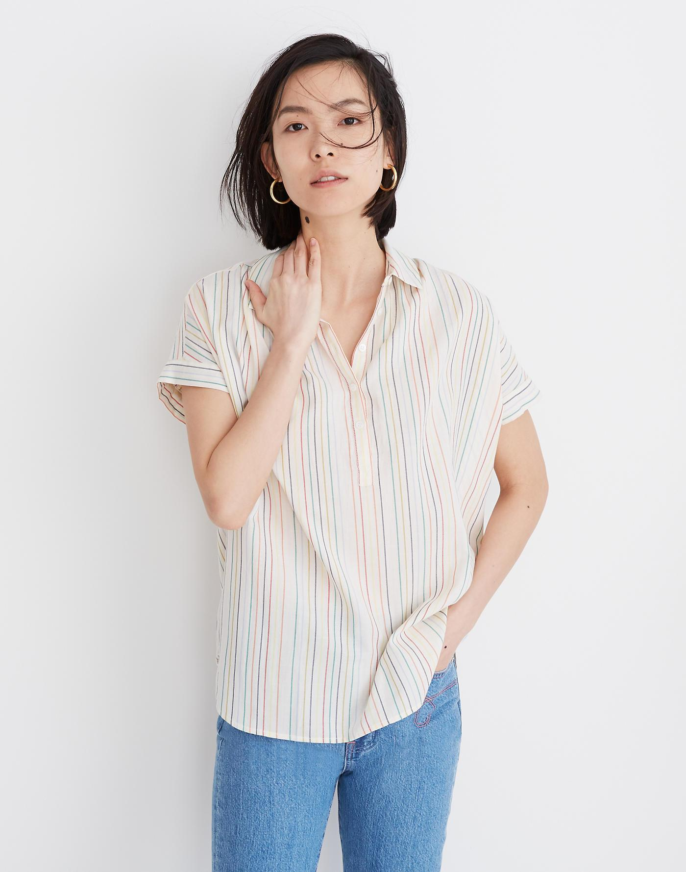 bd6649a9 Madewell Central Popover Shirt In Textural Rainbow Stripe in White ...