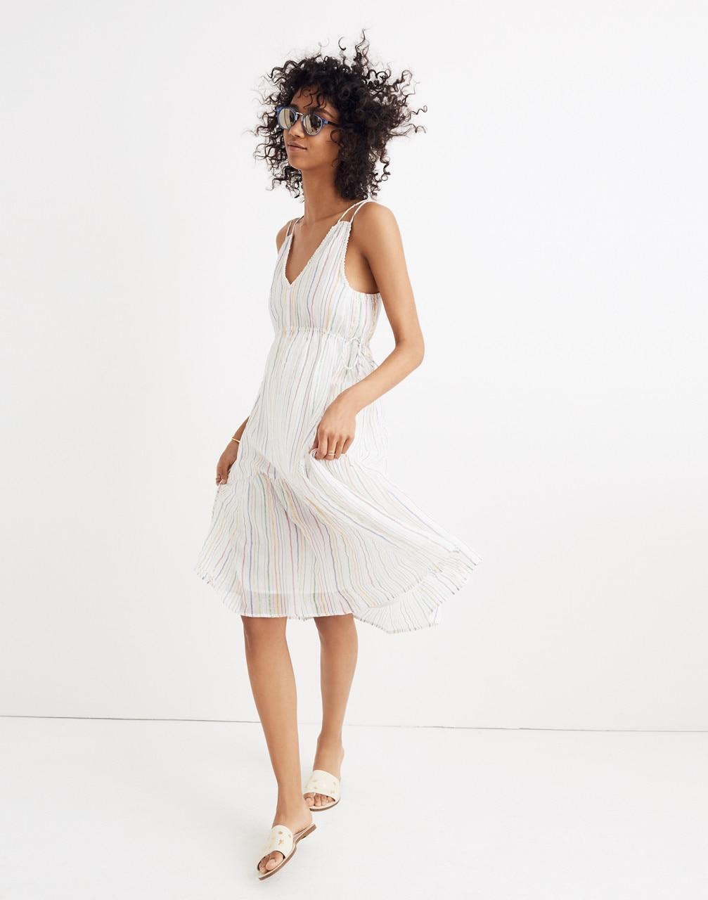 96ea173e9e Madewell Apiece Apart Striped Daphne Midi Dress in White - Lyst