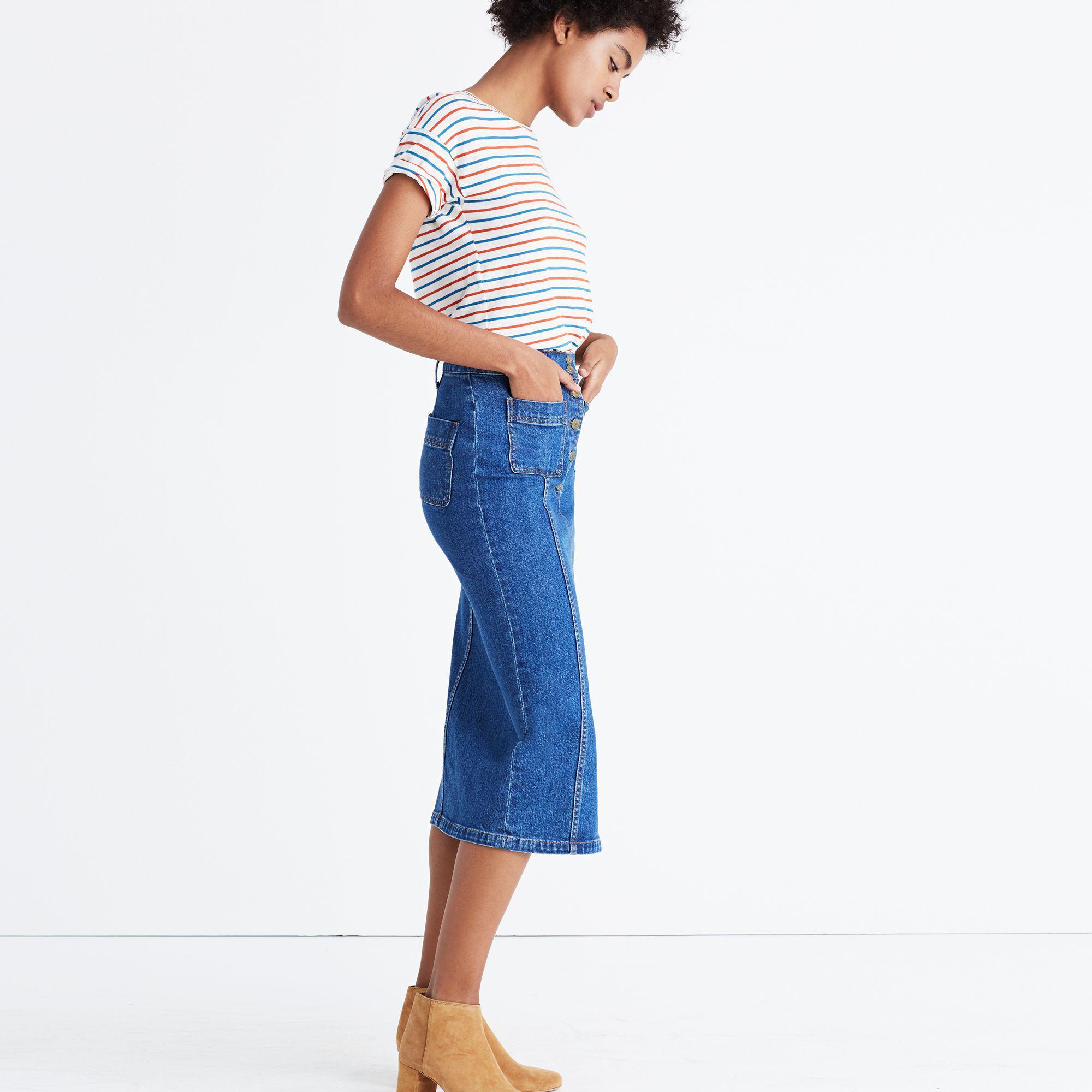 da7a4d5a4d Madewell High-slit Jean Skirt in Blue - Lyst