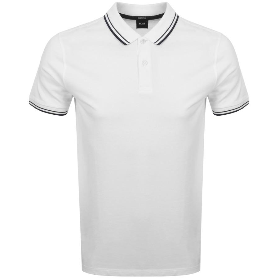 BOSS. Men's Parlay 16 Polo T Shirt White