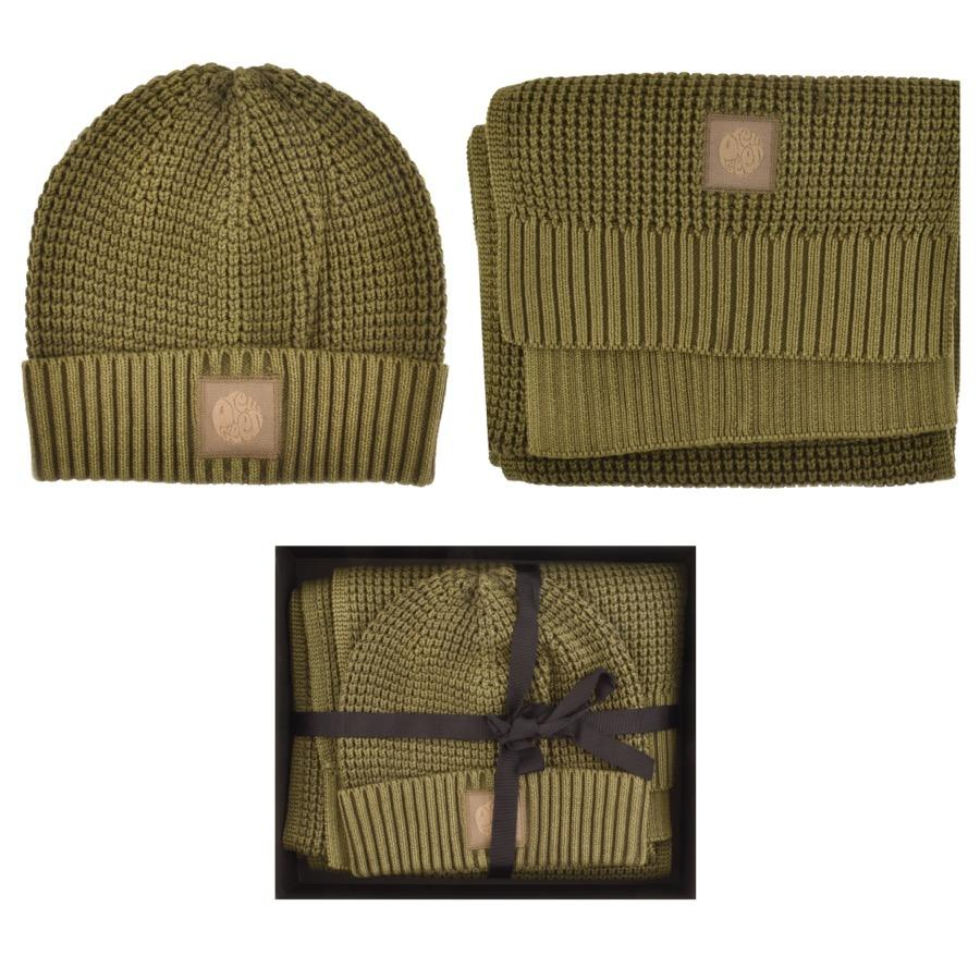 d340fdbde45 Lyst - Pretty Green Knit Scarf And Beanie Giftset Khaki in Green for Men