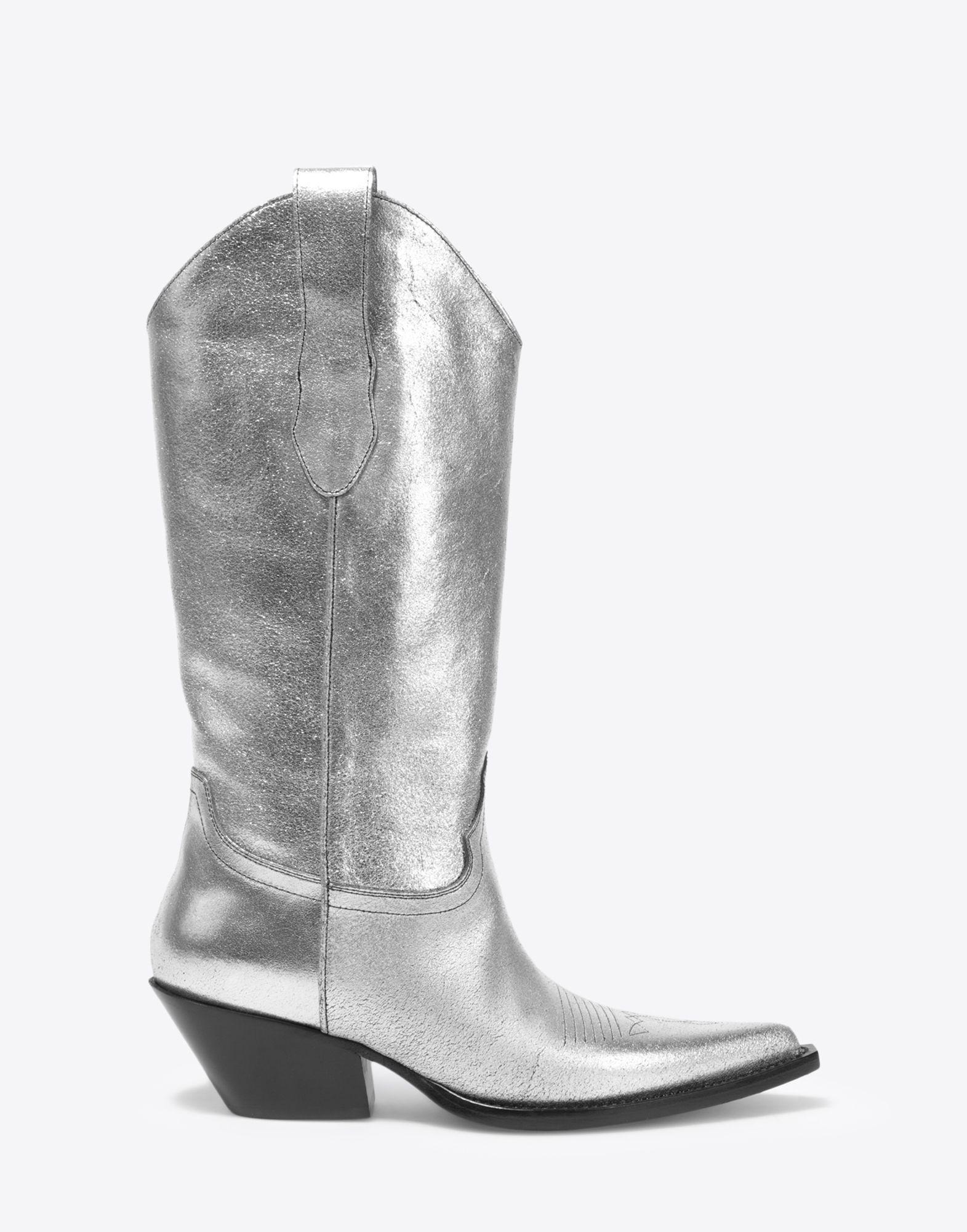 0b2a8431ec59d Lyst - Maison Margiela High Silver Cowboy Boots in Metallic