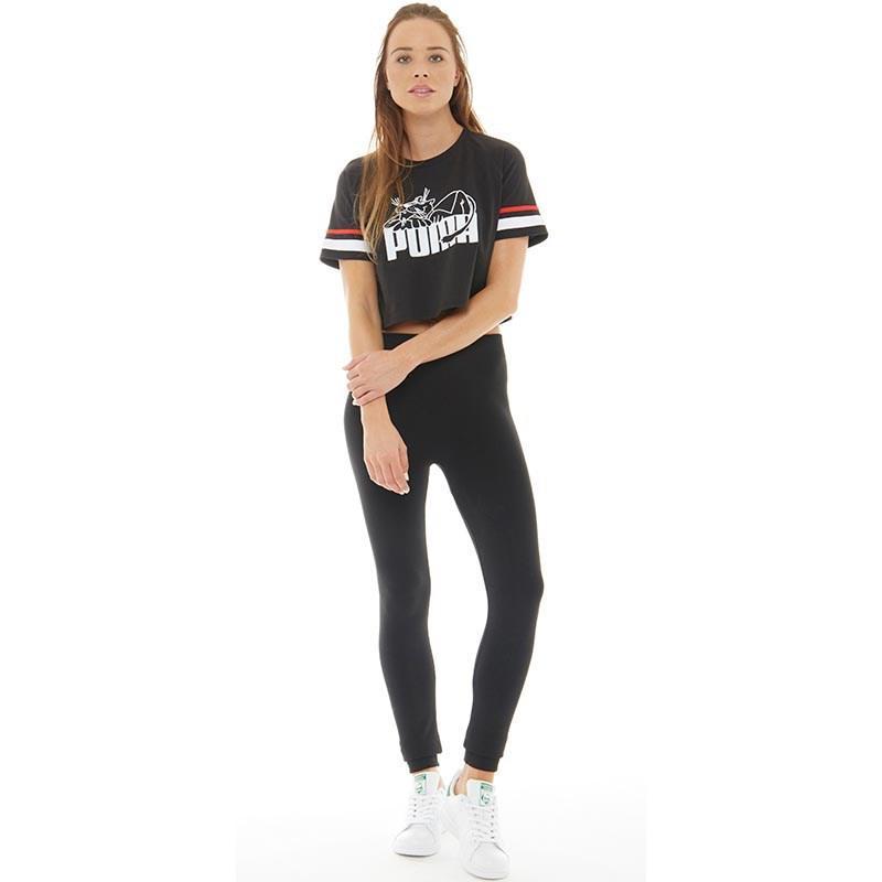 6b4da6d25a3 PUMA Super Cropped T-shirt Black in Black - Lyst