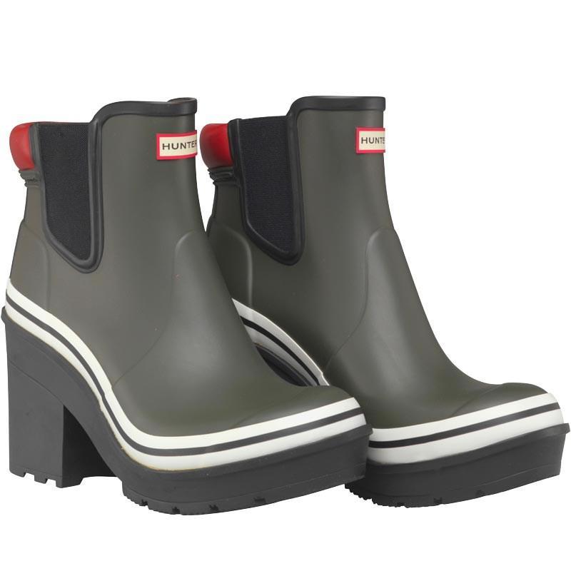 11c978d7bf45 HUNTER Original Block Heel Bouy Stripes Wellington Boots Dark Olive ...