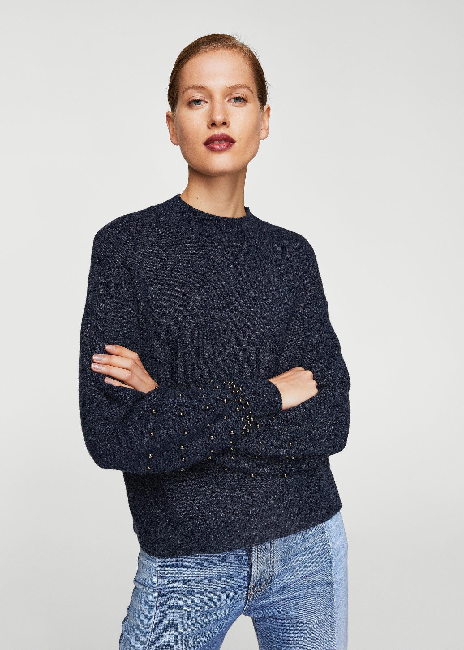 d1c5b7feb Mango Pearl Embroidery Appliqué Sweater in Blue - Lyst