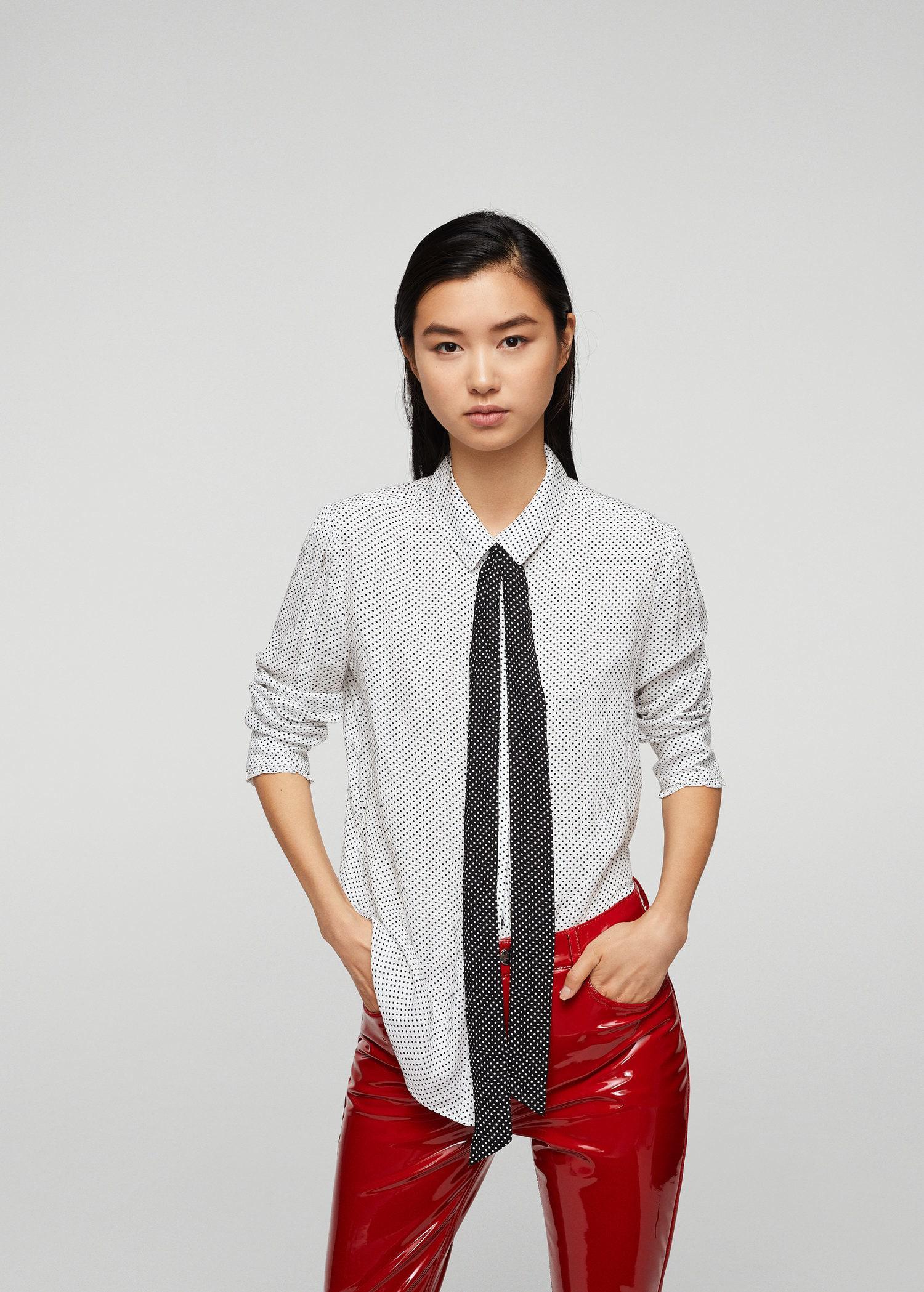 48df953b Lyst - Mango Bow Printed Shirt in White
