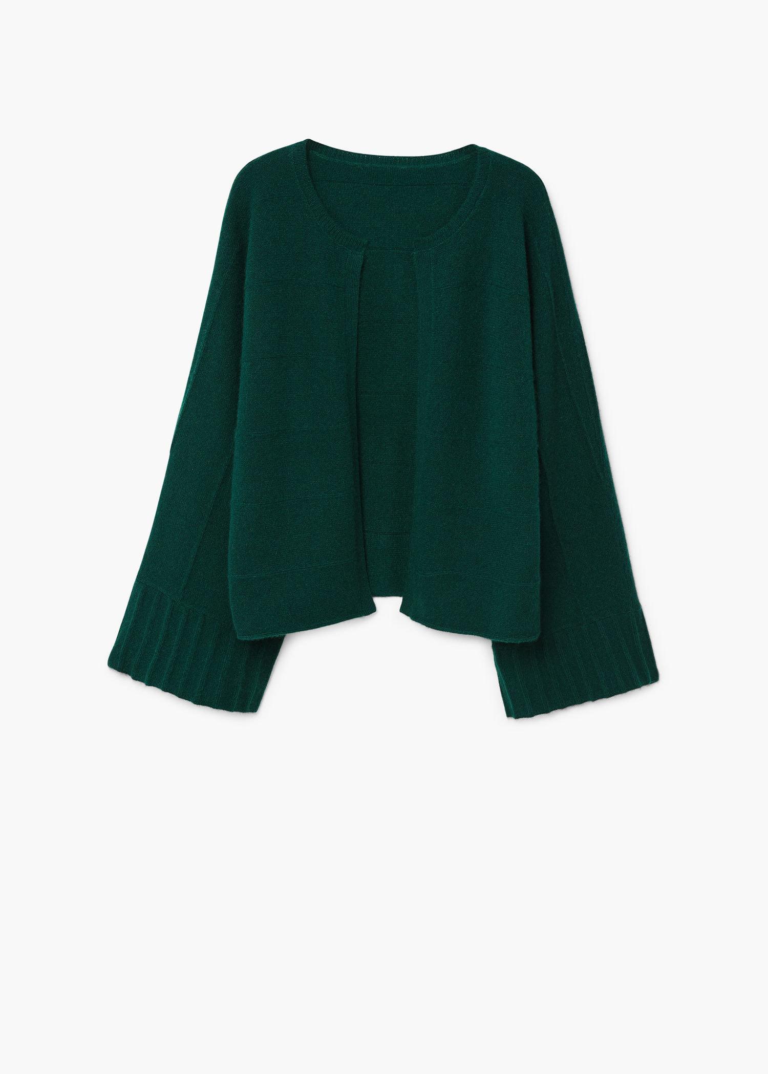 Mango 100% Cashmere Cardigan in Green | Lyst