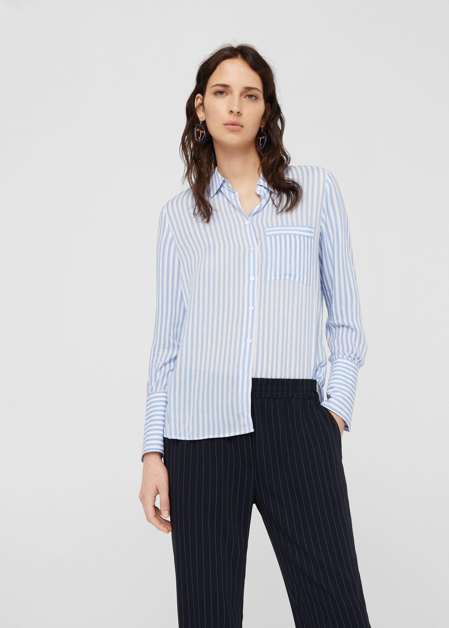 9c743263e2 Mango Striped Flowy Shirt in Blue - Lyst