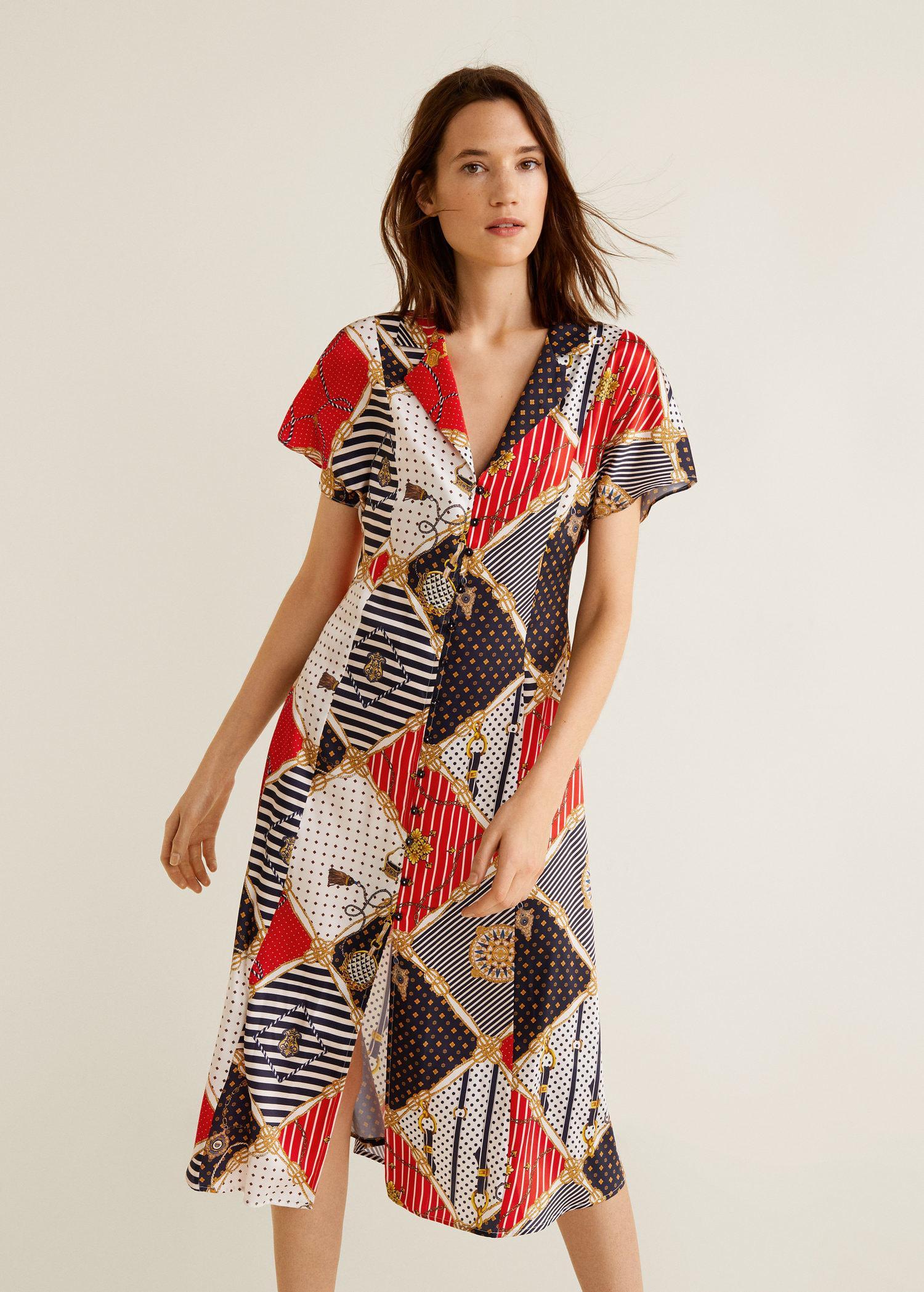 e713a4a625 Lyst - Mango Chain Print Dress in Red