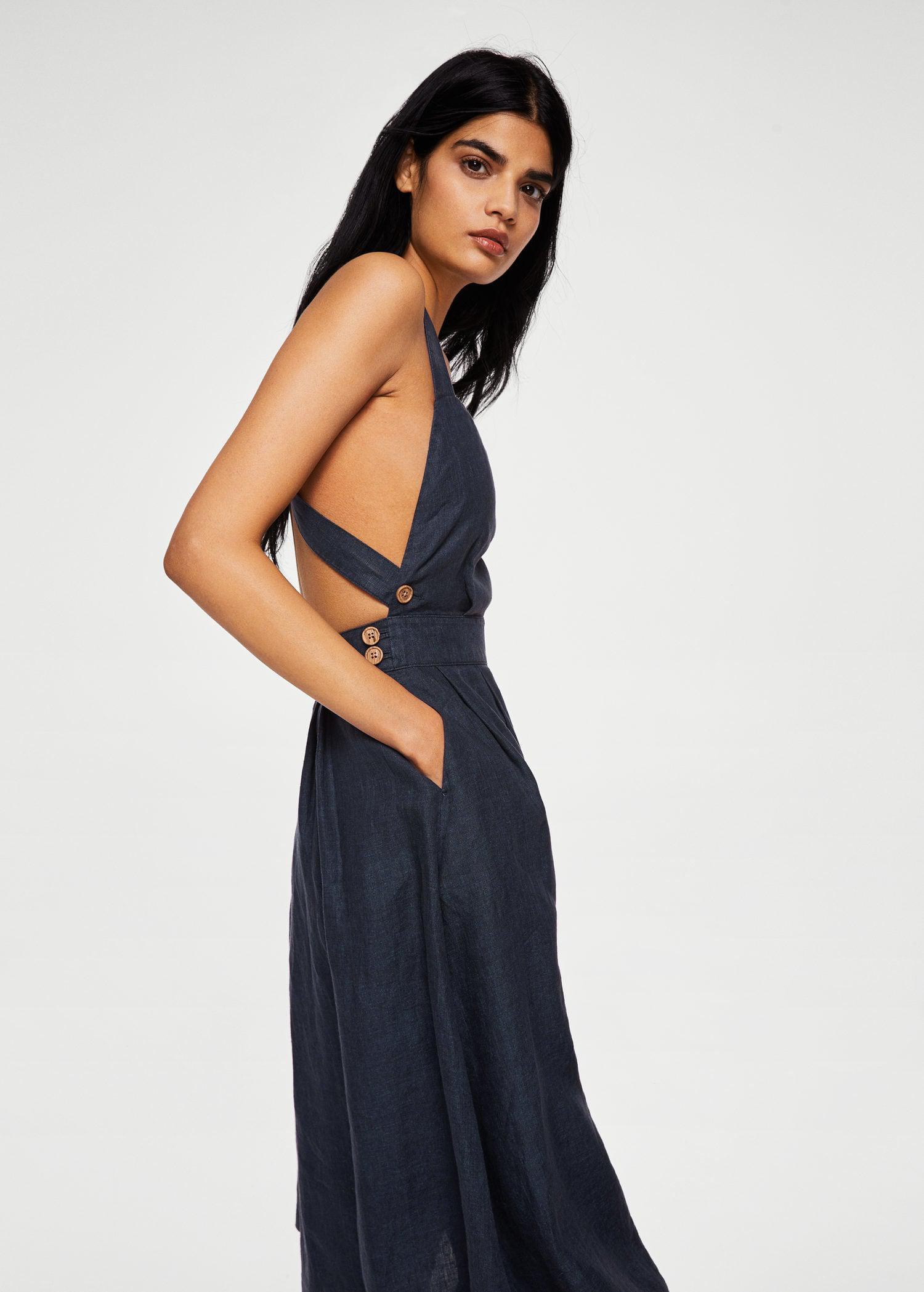 3c4b790f5e0 Mango Linen-blend Midi Dress in Blue - Lyst
