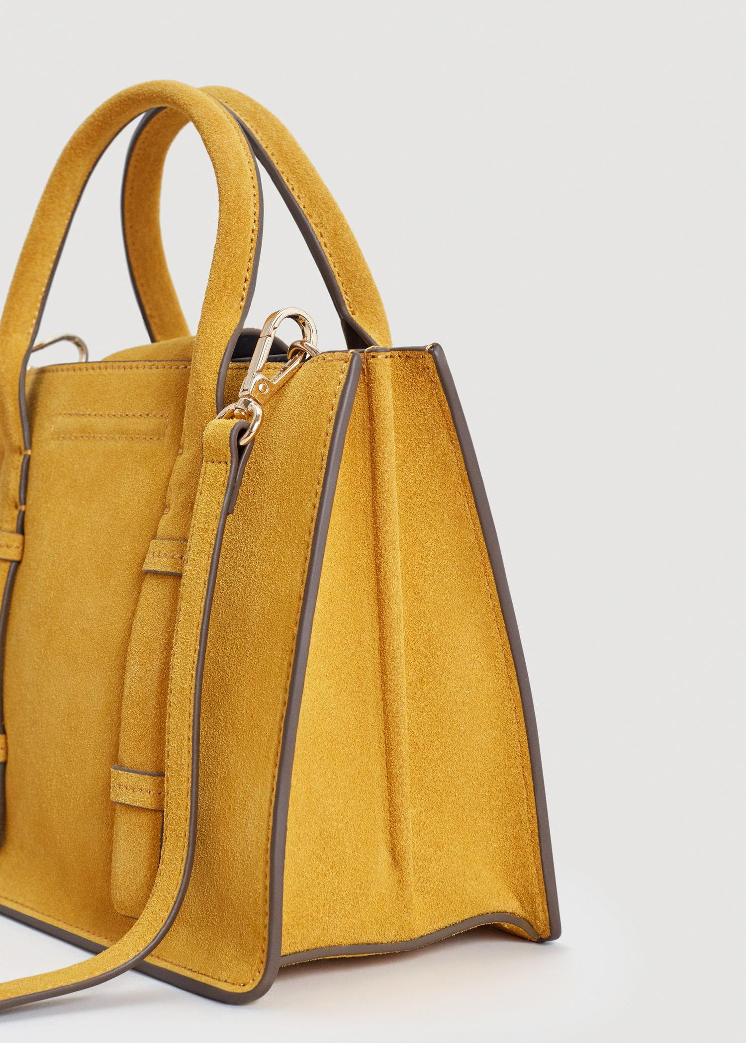 Lyst - Mango Double-strap Leather Bag in Yellow 9a948dc74