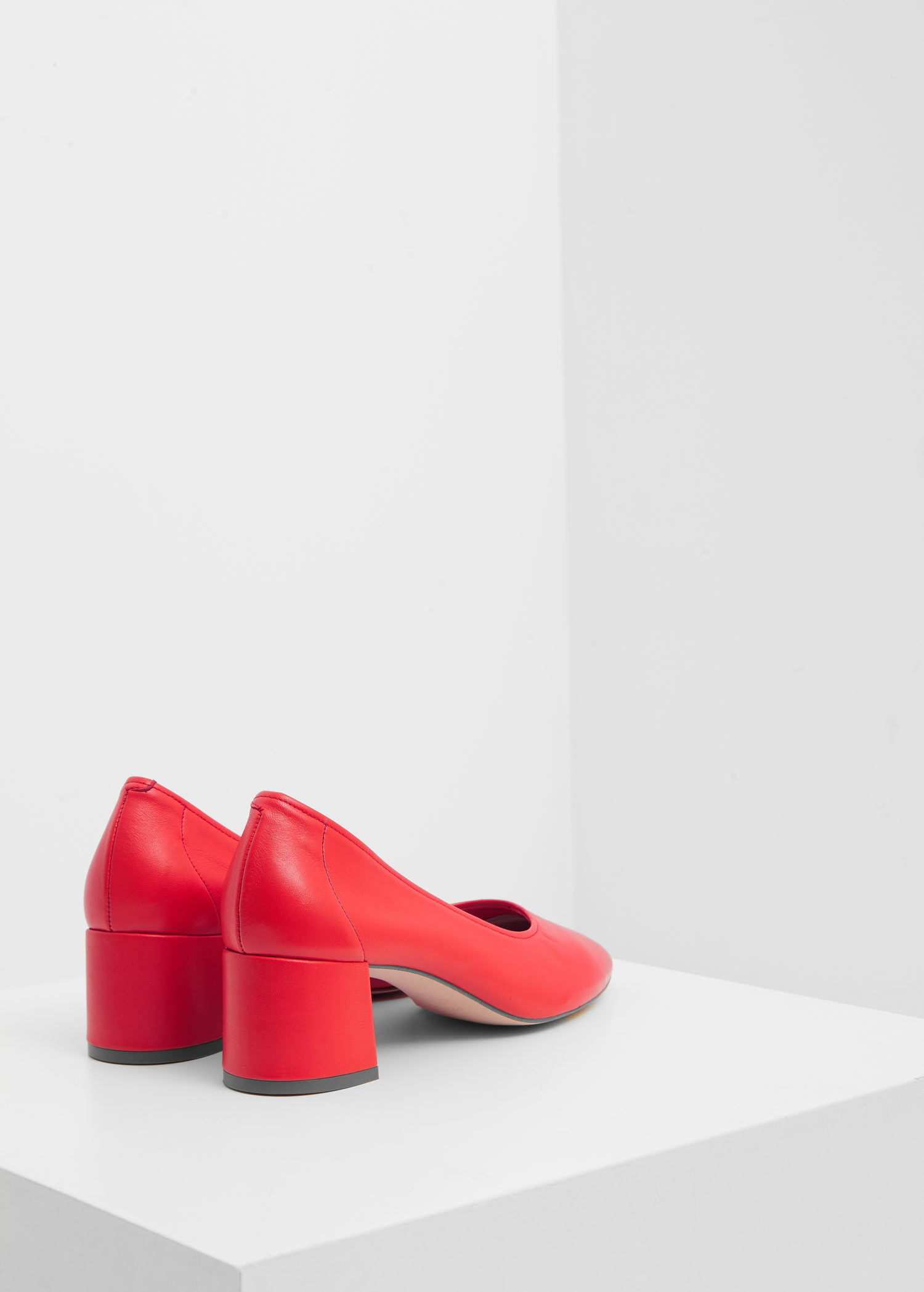 Mango Heel Leather Shoes In Red Lyst