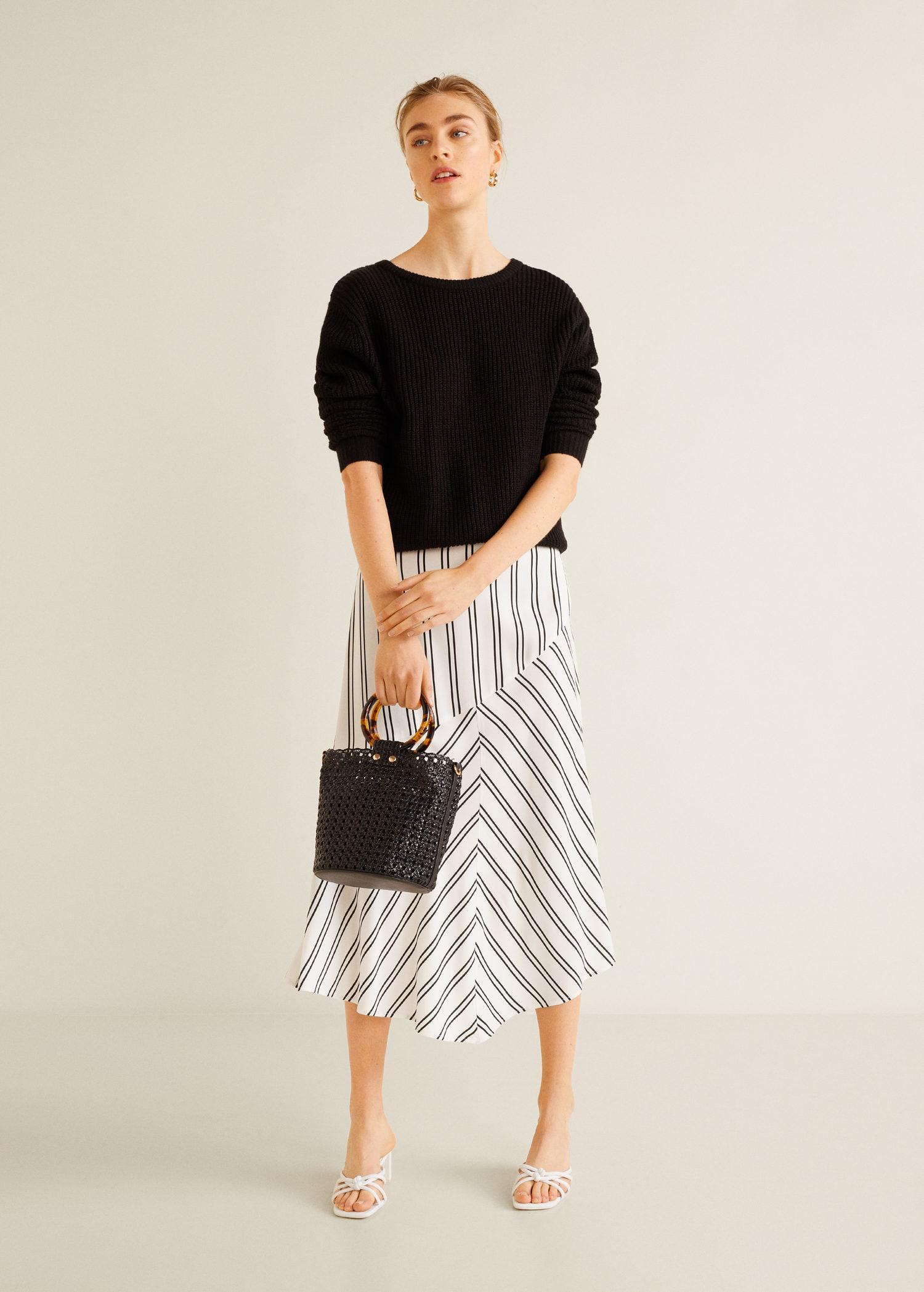 ed4894a52 Mango - White Striped Midi Skirt - Lyst. View fullscreen