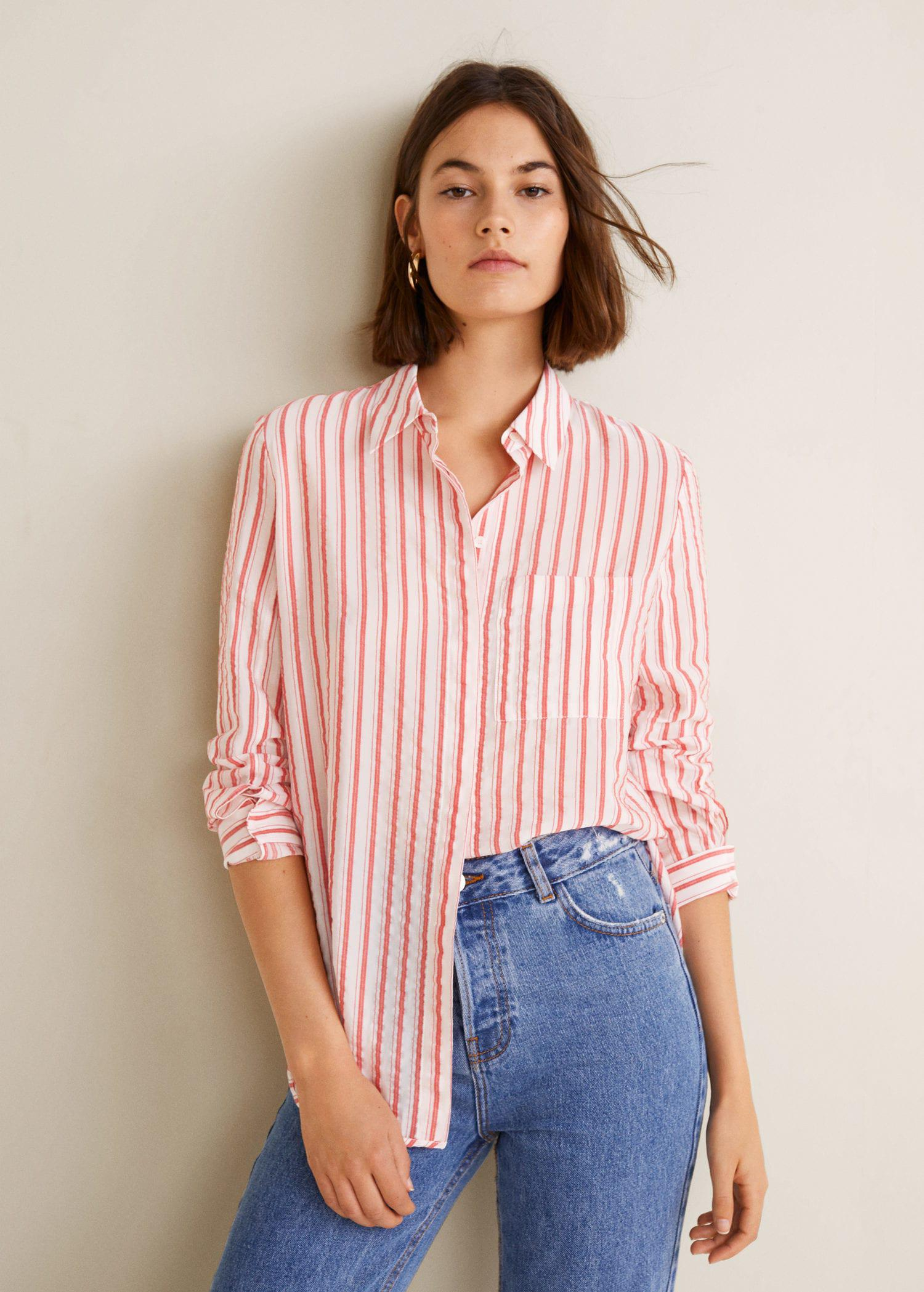 a1b9cefea00408 Lyst - Mango Striped Textured Shirt in Red