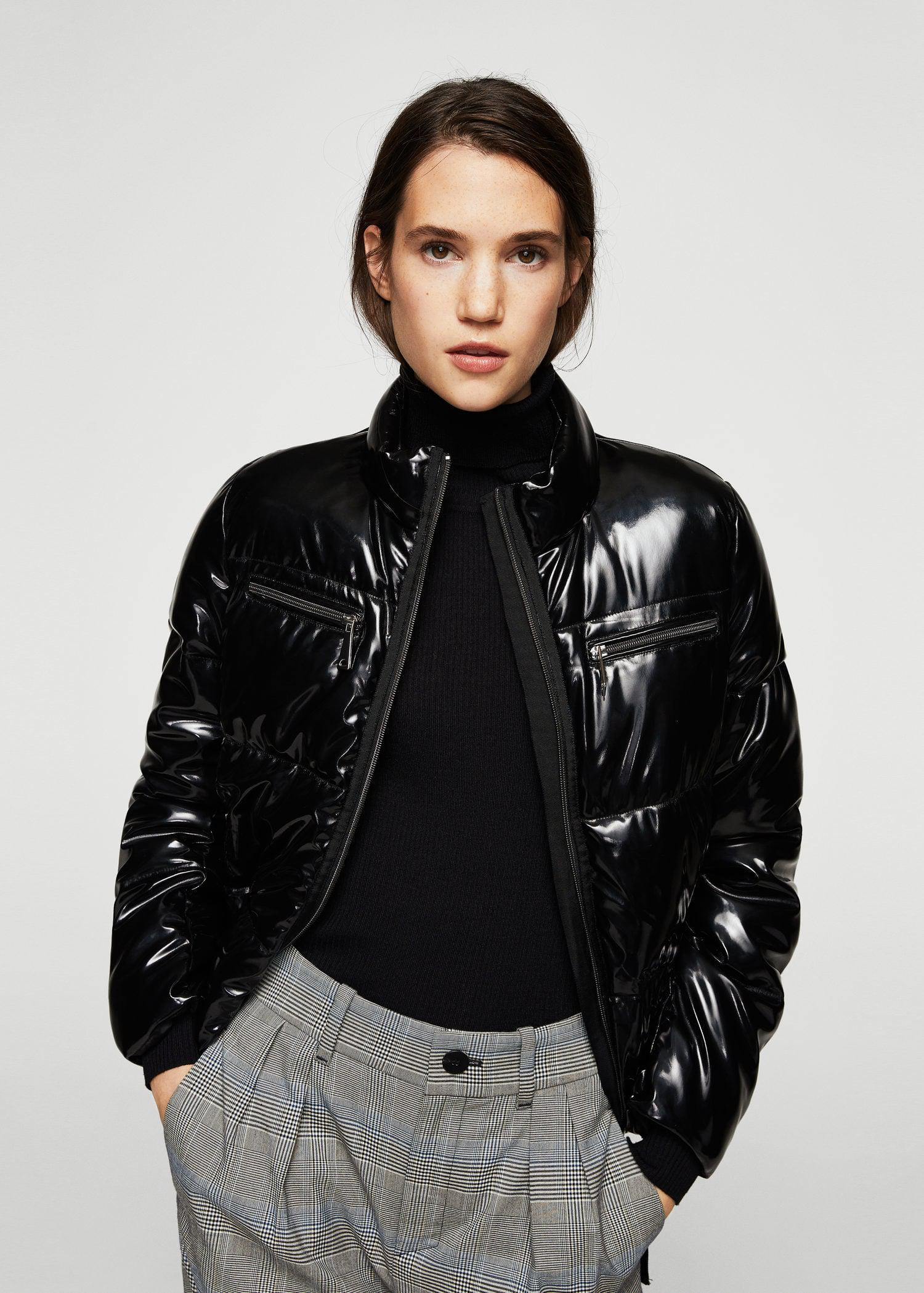 a4a8756db3 Lyst - Mango Vinyl Quilted Coat in Black