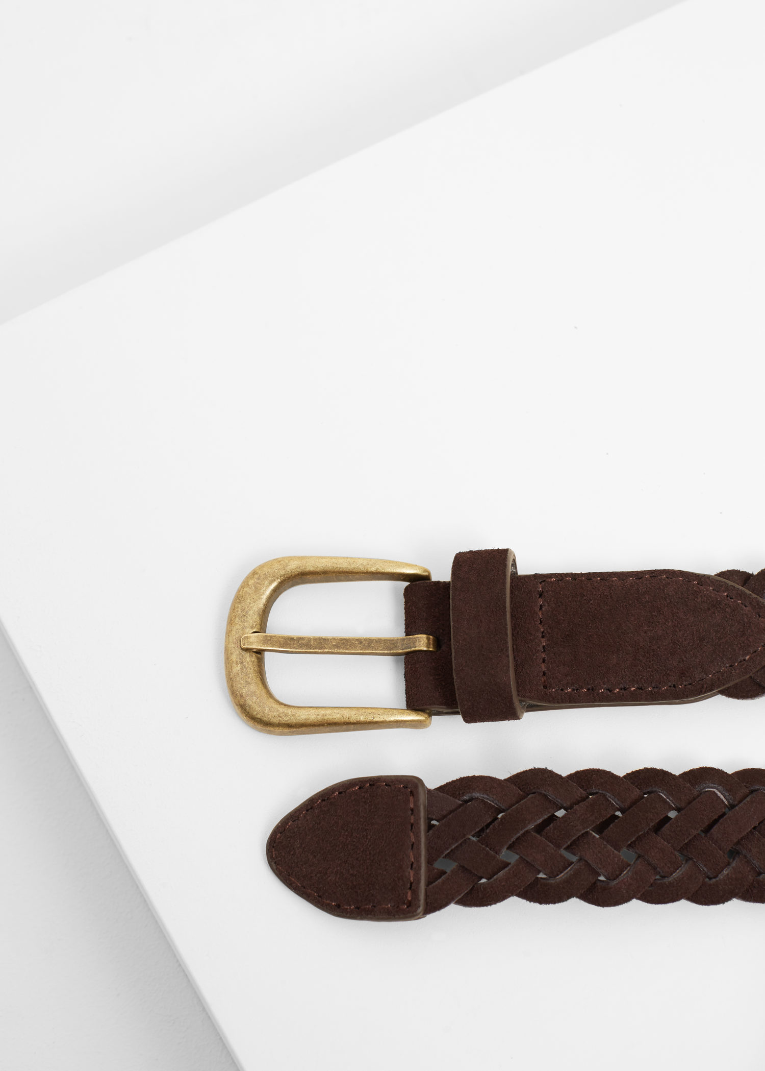 mango braided leather belt in brown chocolate lyst