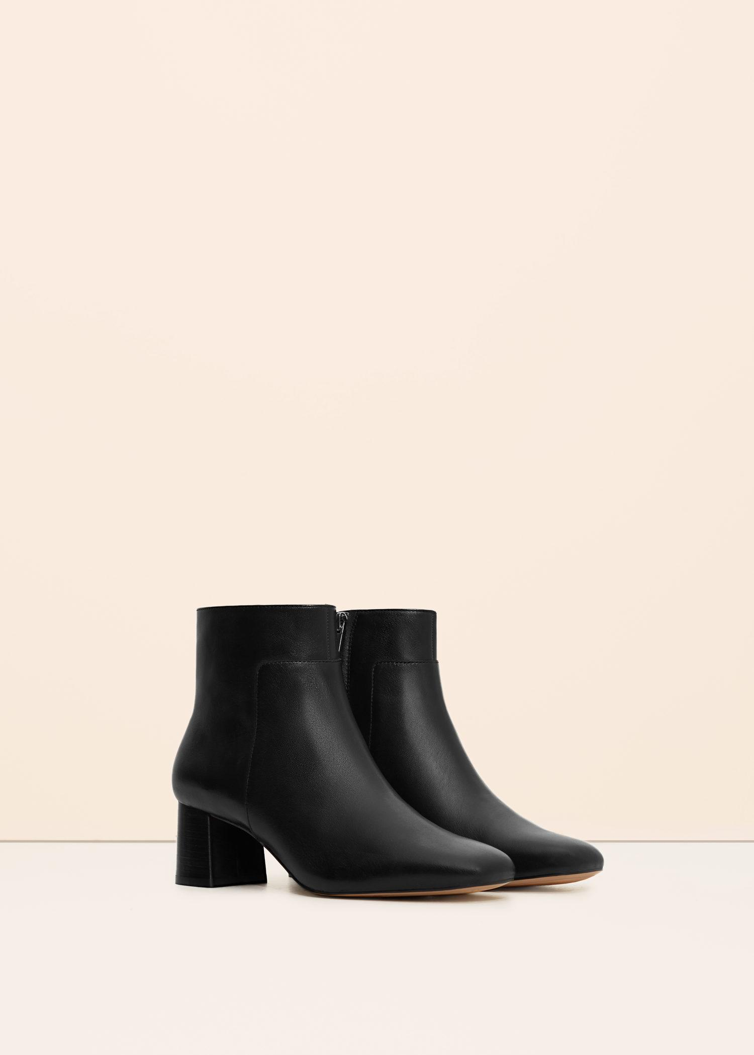 violeta by mango zipped leather ankle boots in black lyst