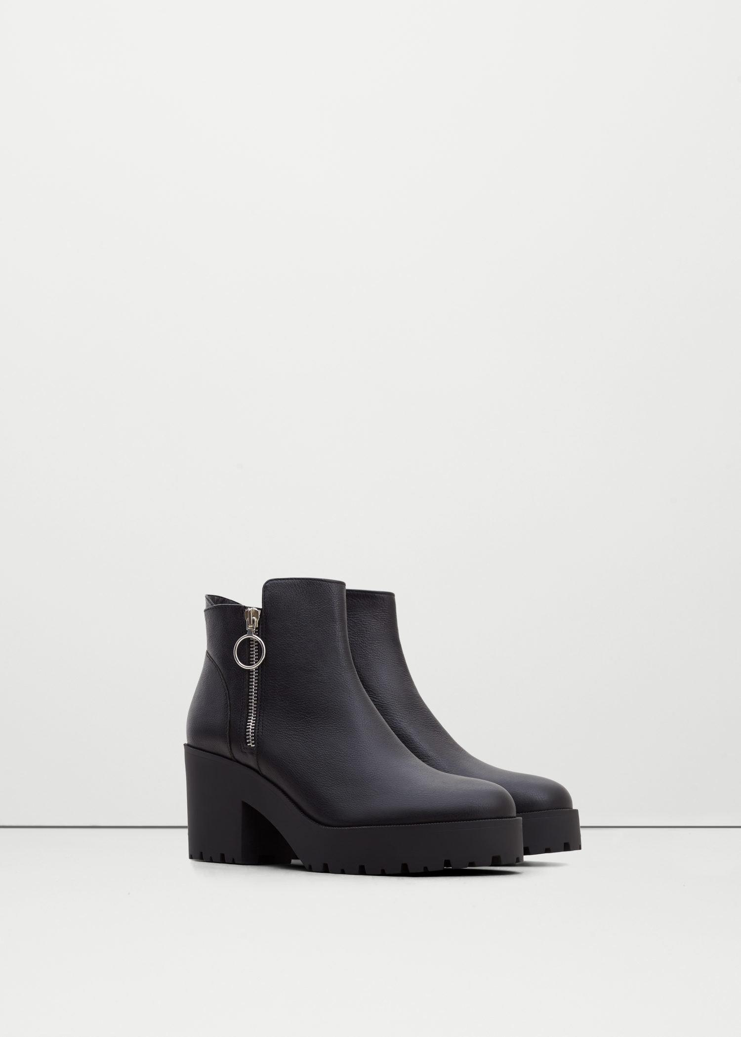 mango platform leather ankle boots in black lyst