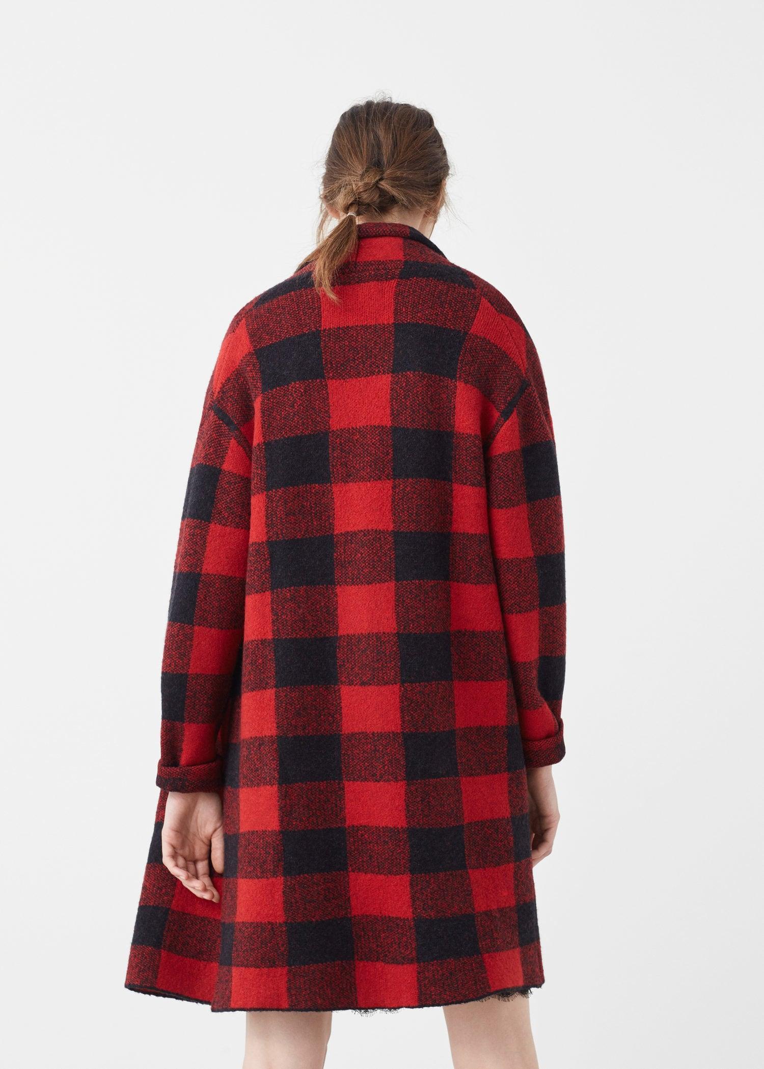 d01d75d777 Lyst - Mango Check Wool-blend Coat in Red