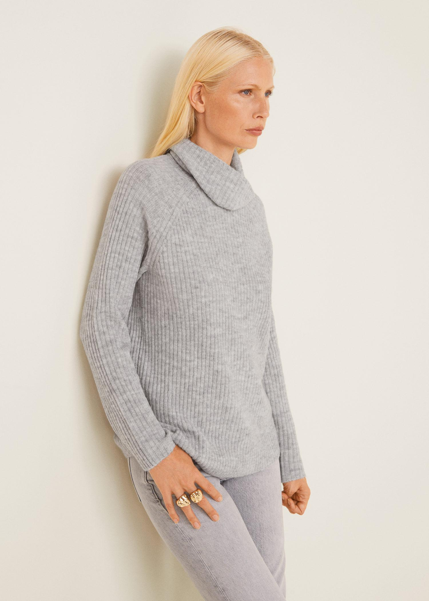 Sweater Lyst In Mango Gray Ribbed Polyester Recycled gwx6gHq