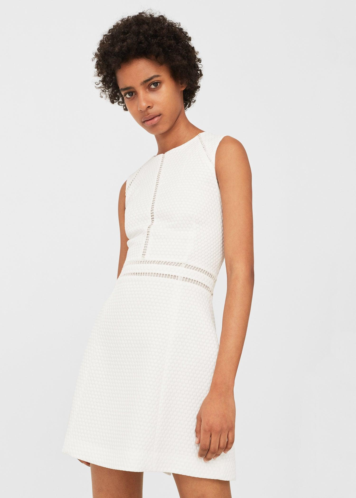 Mango Open-work Trim Dress in White
