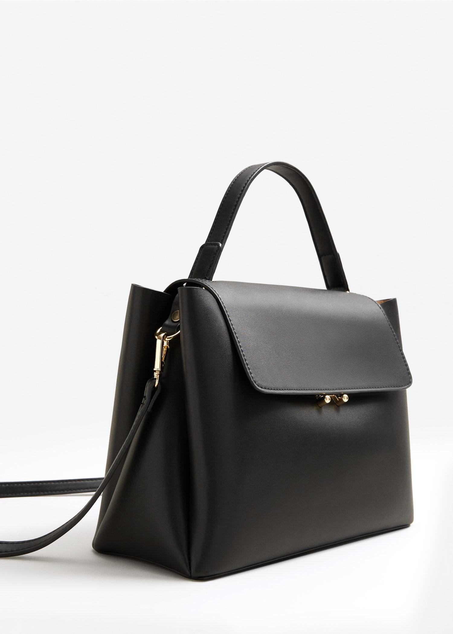 Mango Flap Tote Bag In Black Lyst