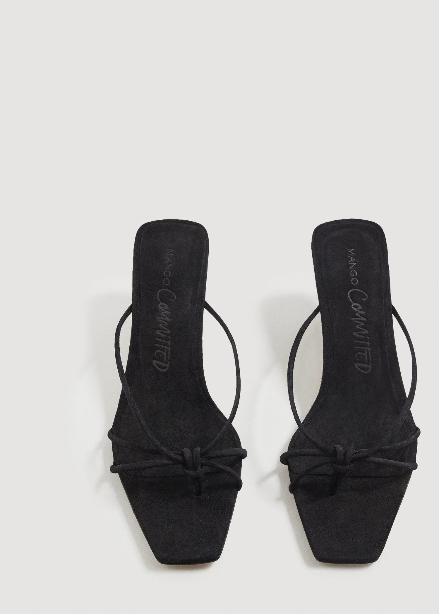 dac6679c121 Lyst - Mango Heel Leather Sandals in Black