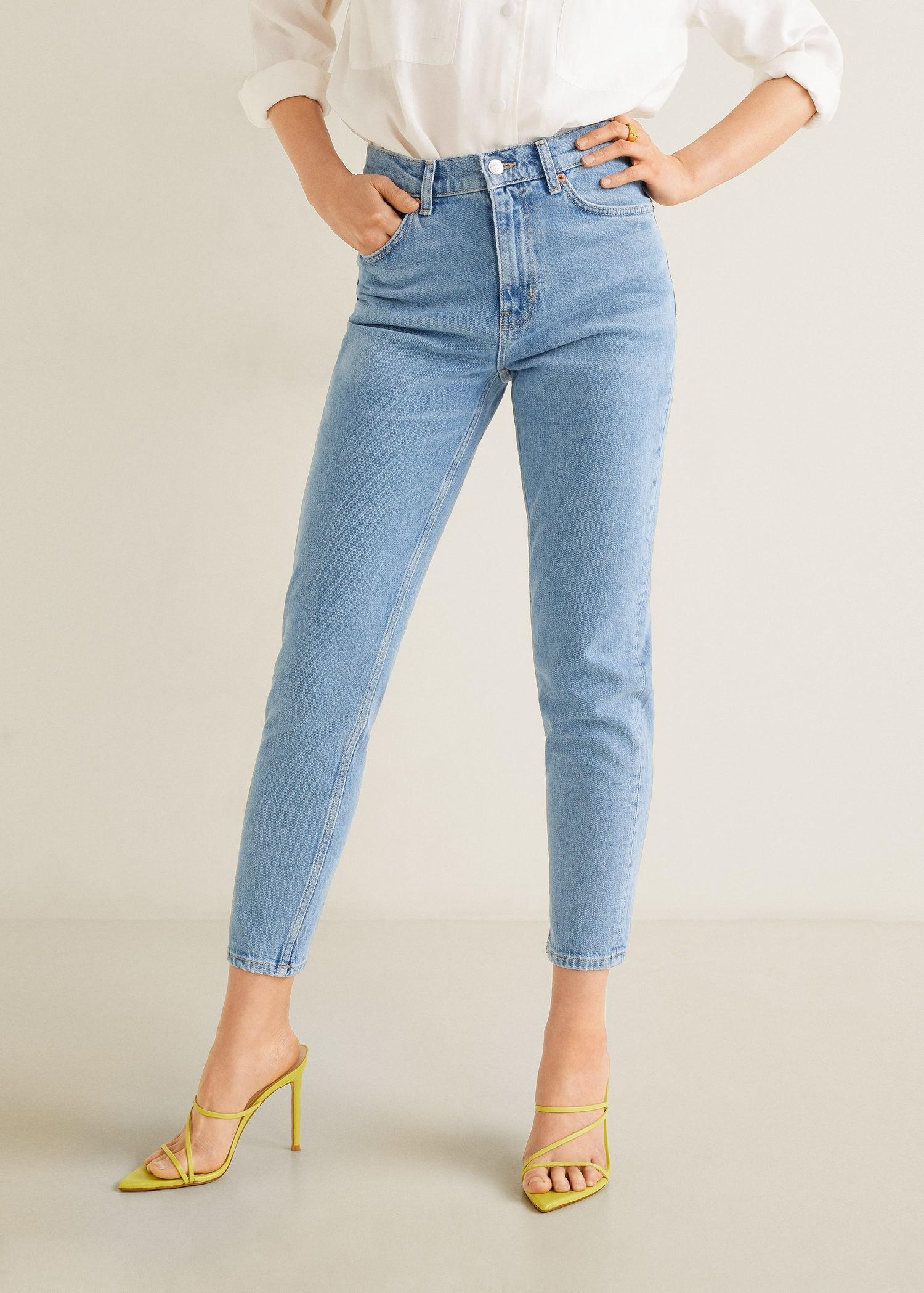 3b2a1388e23 Mango Slim-fit New Mom Jeans in Blue - Lyst