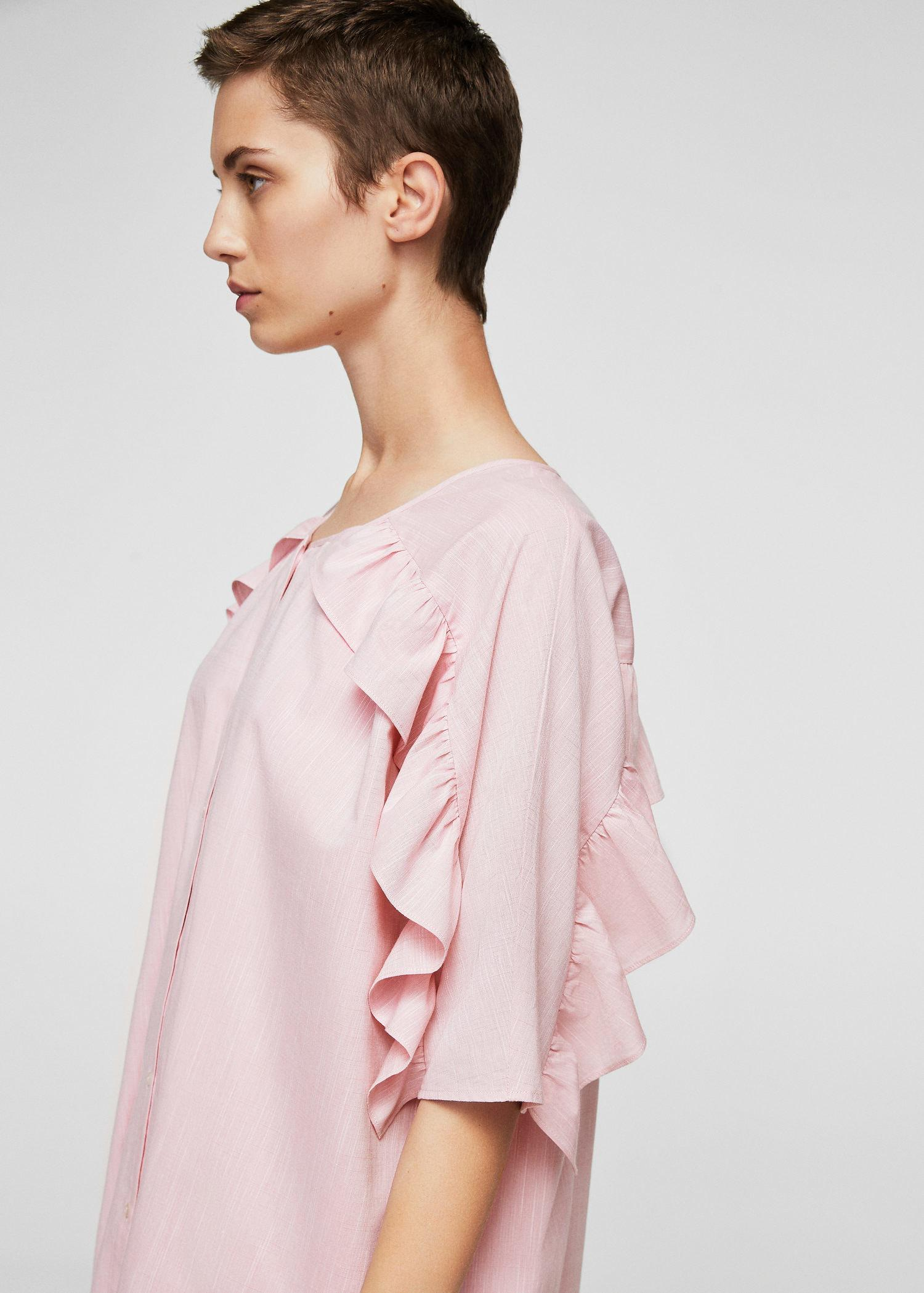 cost charm exclusive range authentic Lyst - Mango Frill Cotton Dress in Pink