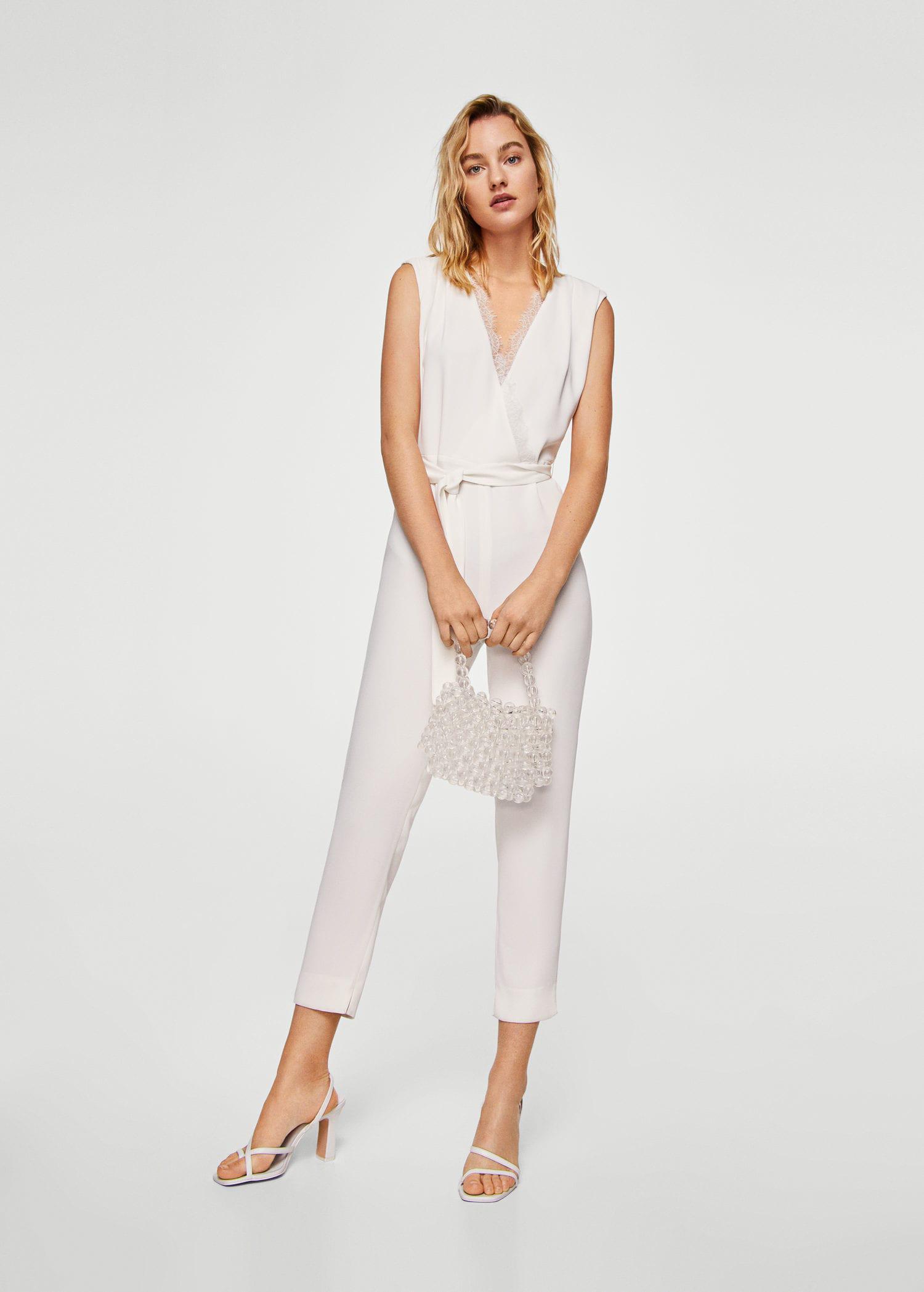 02552669b90a Lyst - Mango Lace Appliqué Jumpsuit in White