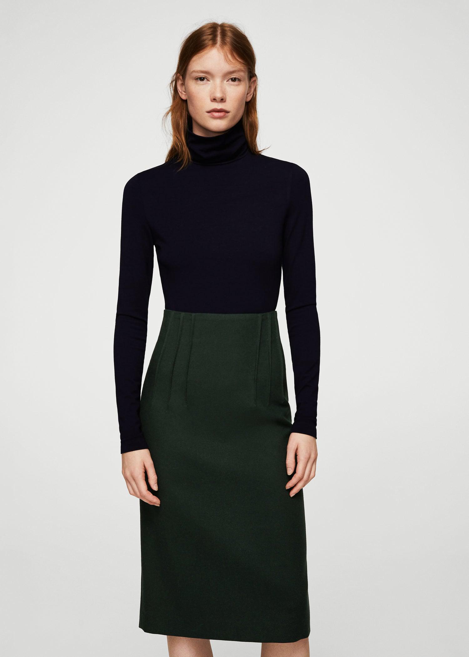 e59d27ca8 Green Pleated Midi Skirt Outfit